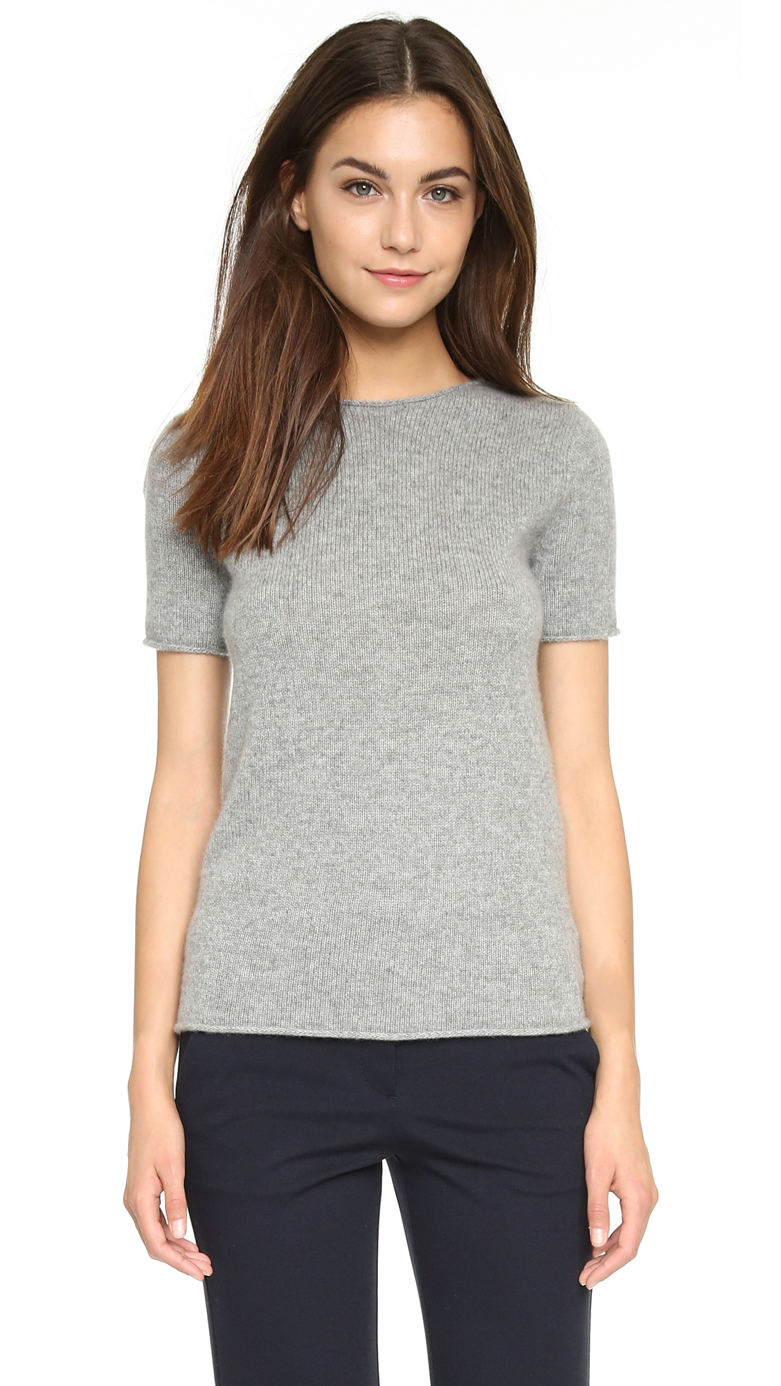 Theory Cashmere Tolleree Short Sleeve Sweater in Gray | Lyst