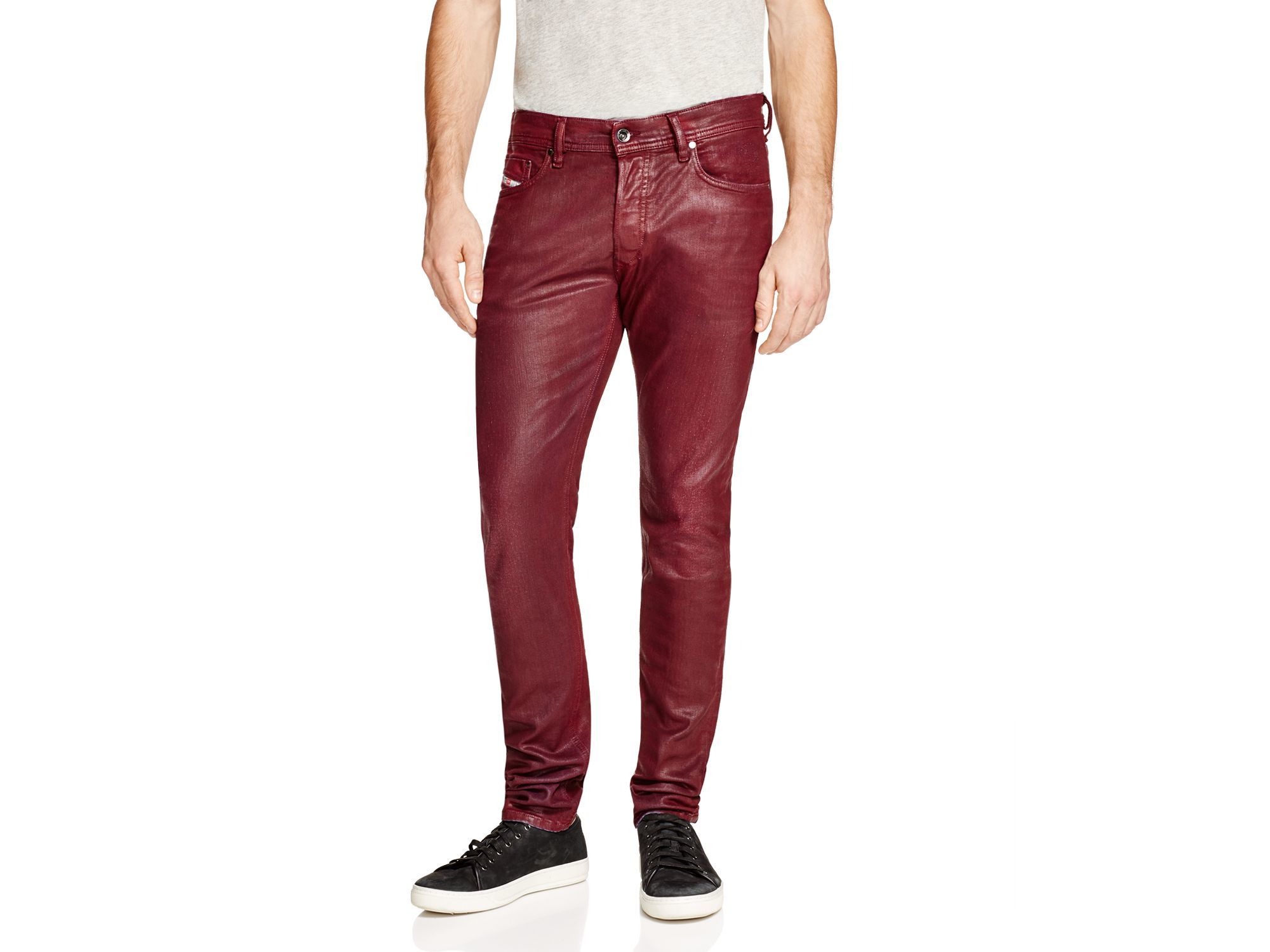 Diesel Tepphar Burgundy Coated Super Slim Fit Jeans In Red in Red ...