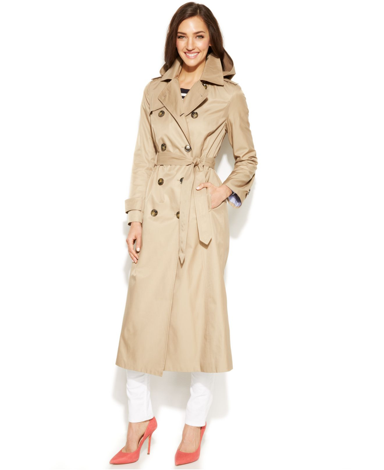 d85d03c6f87 Lyst - London Fog Hooded Double-Breasted Maxi Trench Coat in Natural