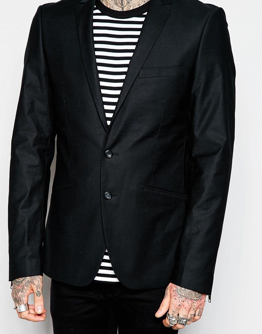 94f921ec Lindbergh Blazer With Zip Cuff Detail in Black for Men - Lyst