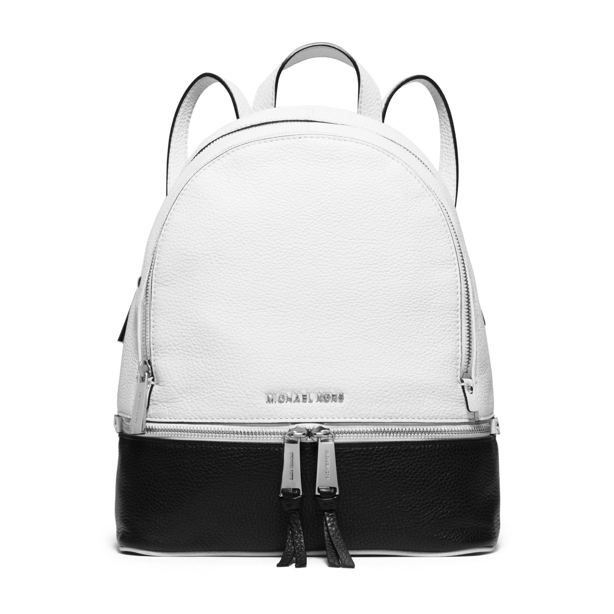 Lyst - Michael Kors Rhea Medium Color-block Leather Backpack in Black b7e28c7d5c3b3