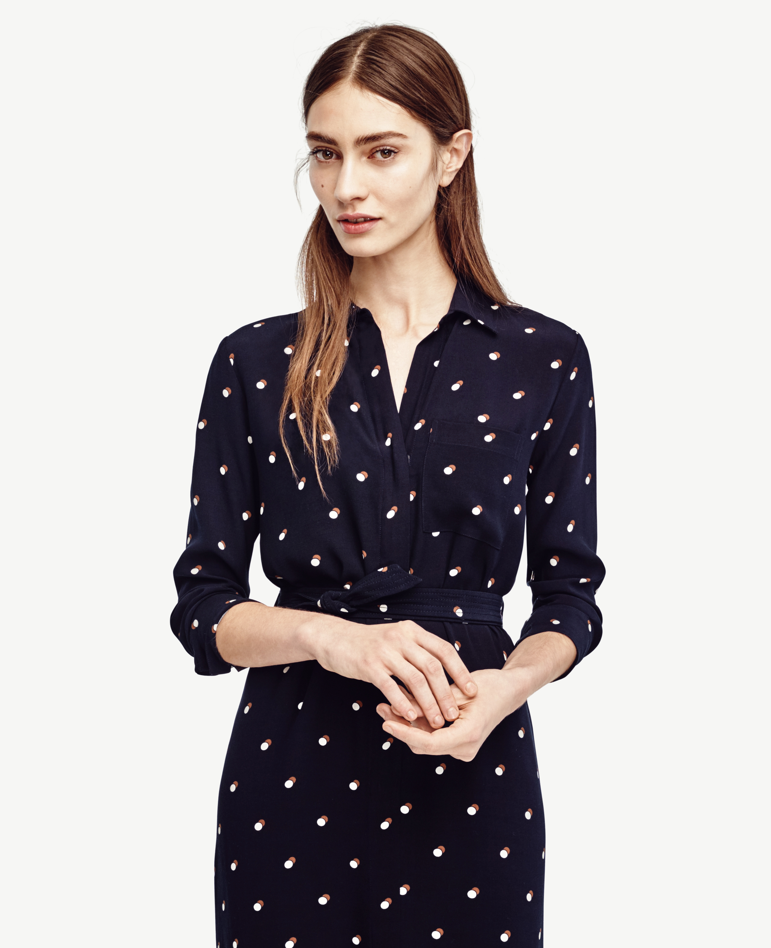 Lyst - Ann Taylor Double Dot Long Sleeve Shirtdress in Blue