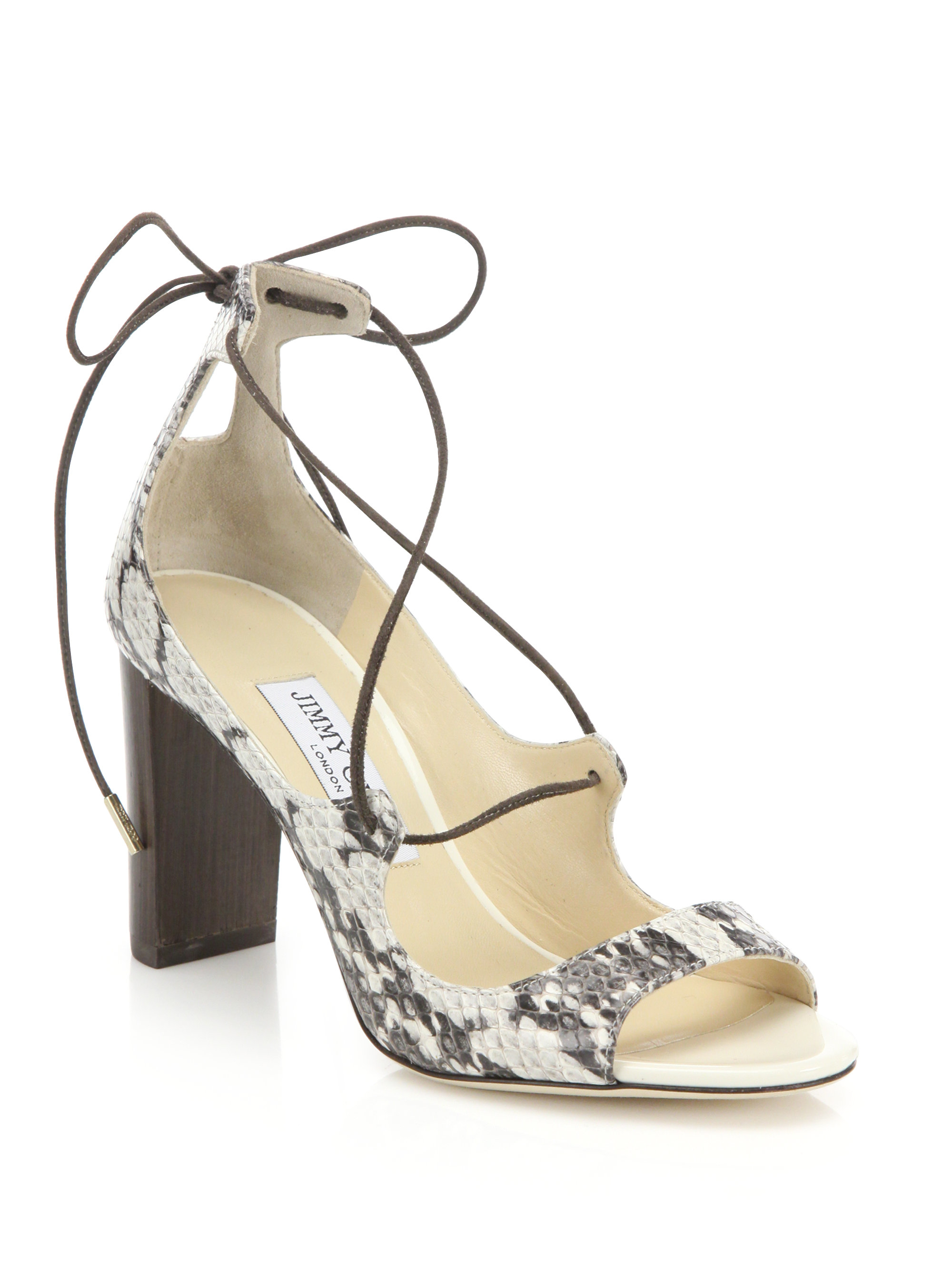 Jimmy Choo Snakeskin Wrap-Around Sandals cheap recommend new styles cheap online sale find great discount brand new unisex Aaoiw