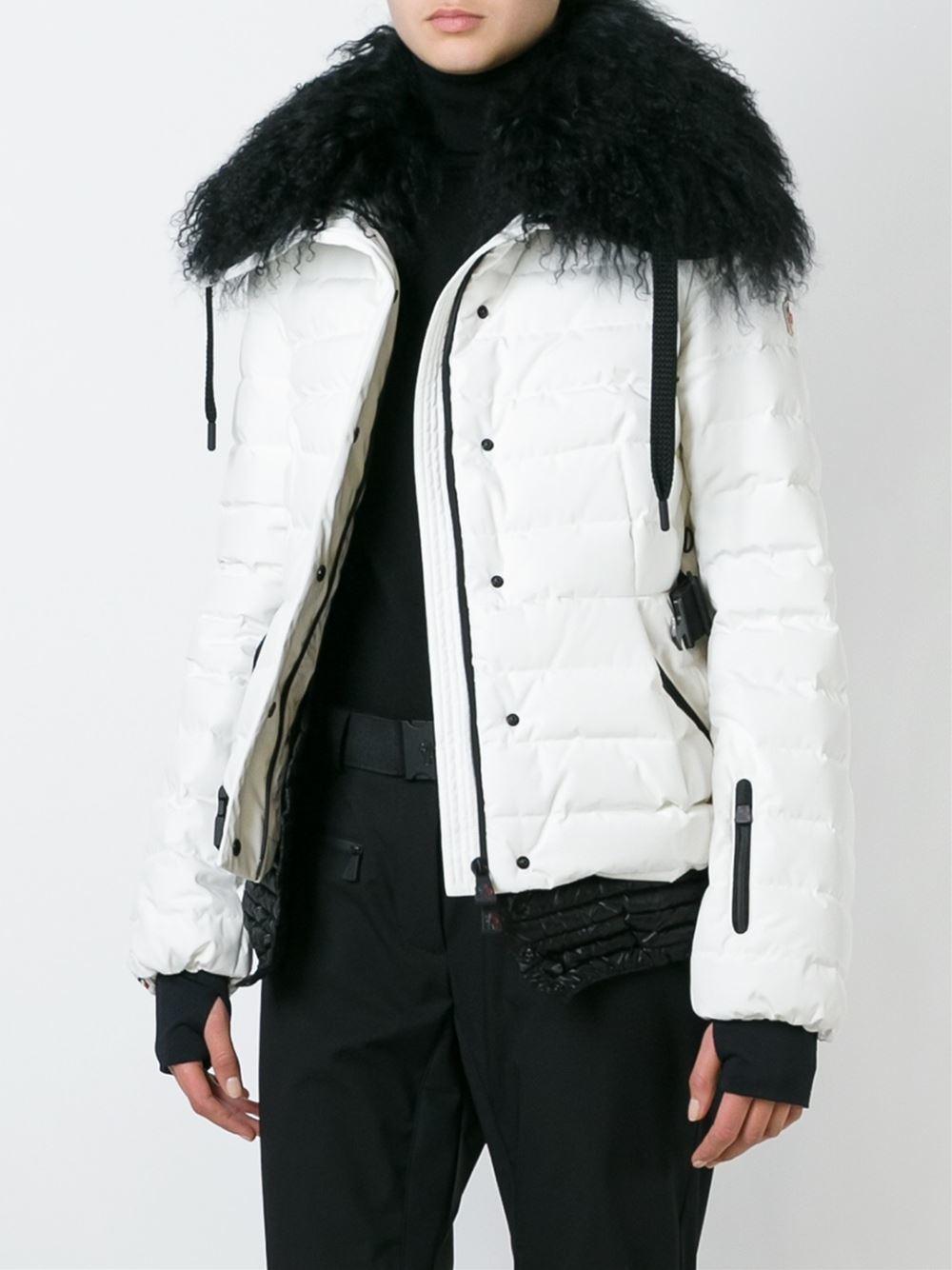 68d8e8b6aea6 Moncler Grenoble Lamb Fur Collar Padded Jacket in White - Lyst
