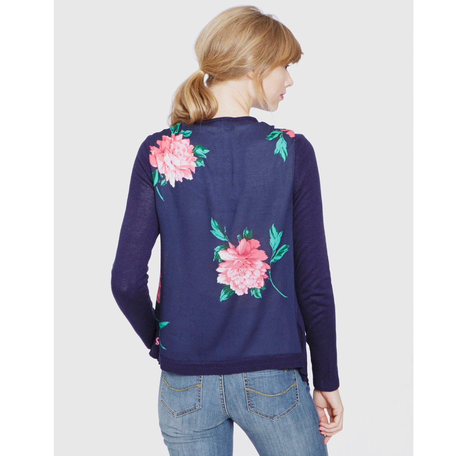 Joules Print Back Cardigan in Blue | Lyst