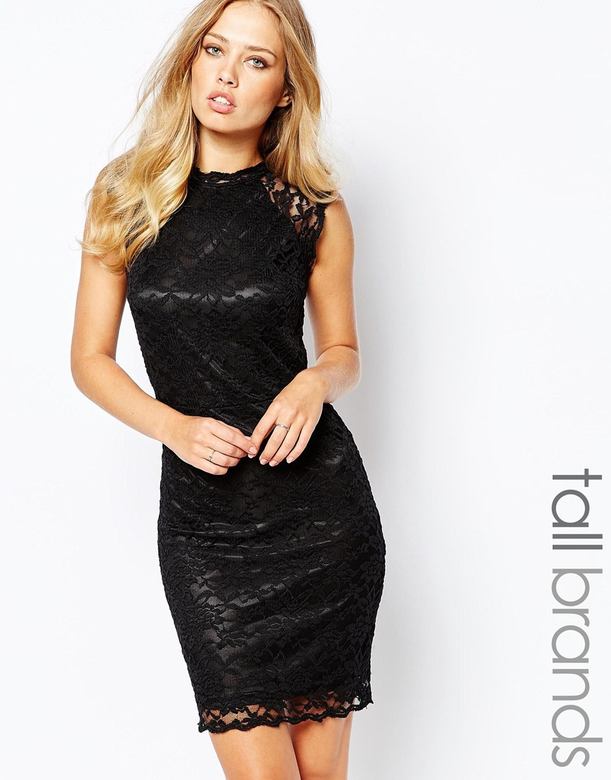 Y.a.s High Neck Bodycon Lace Dress in Black | Lyst