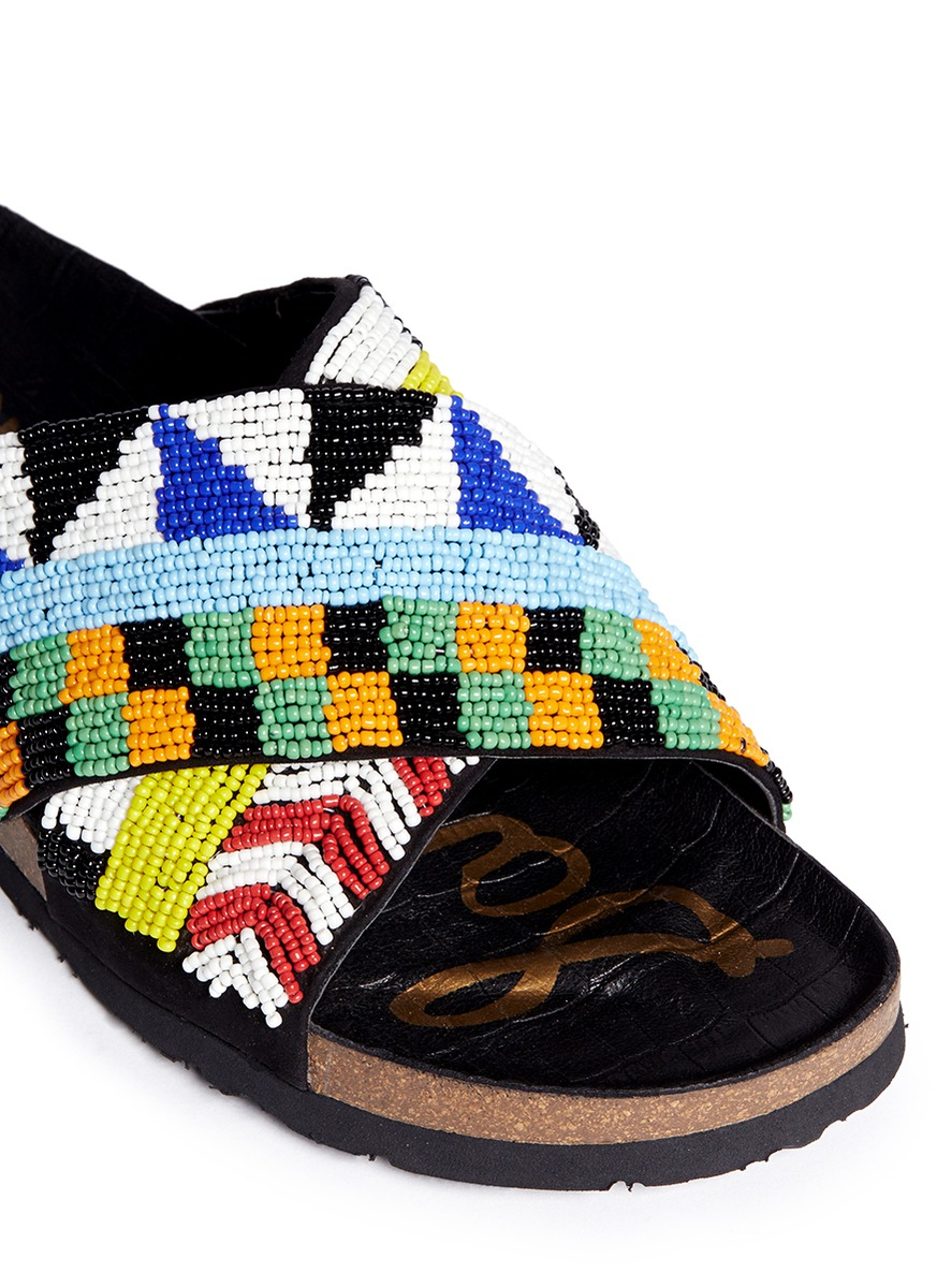 Lyst Sam Edelman Arley Beaded Sandals In Black
