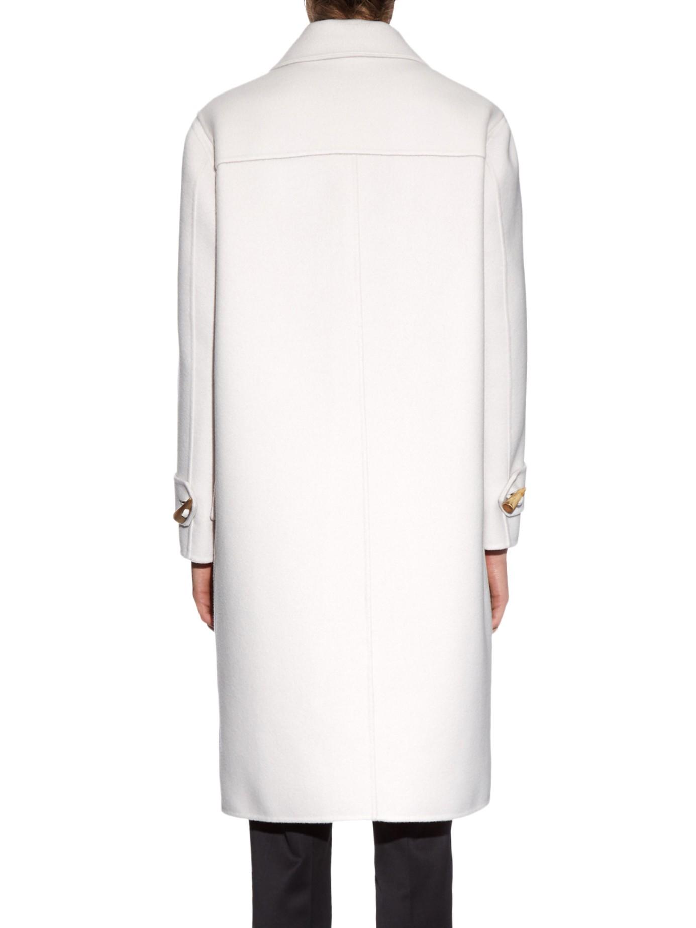 Bottega veneta Double-faced Cashmere Duffle Coat in White | Lyst