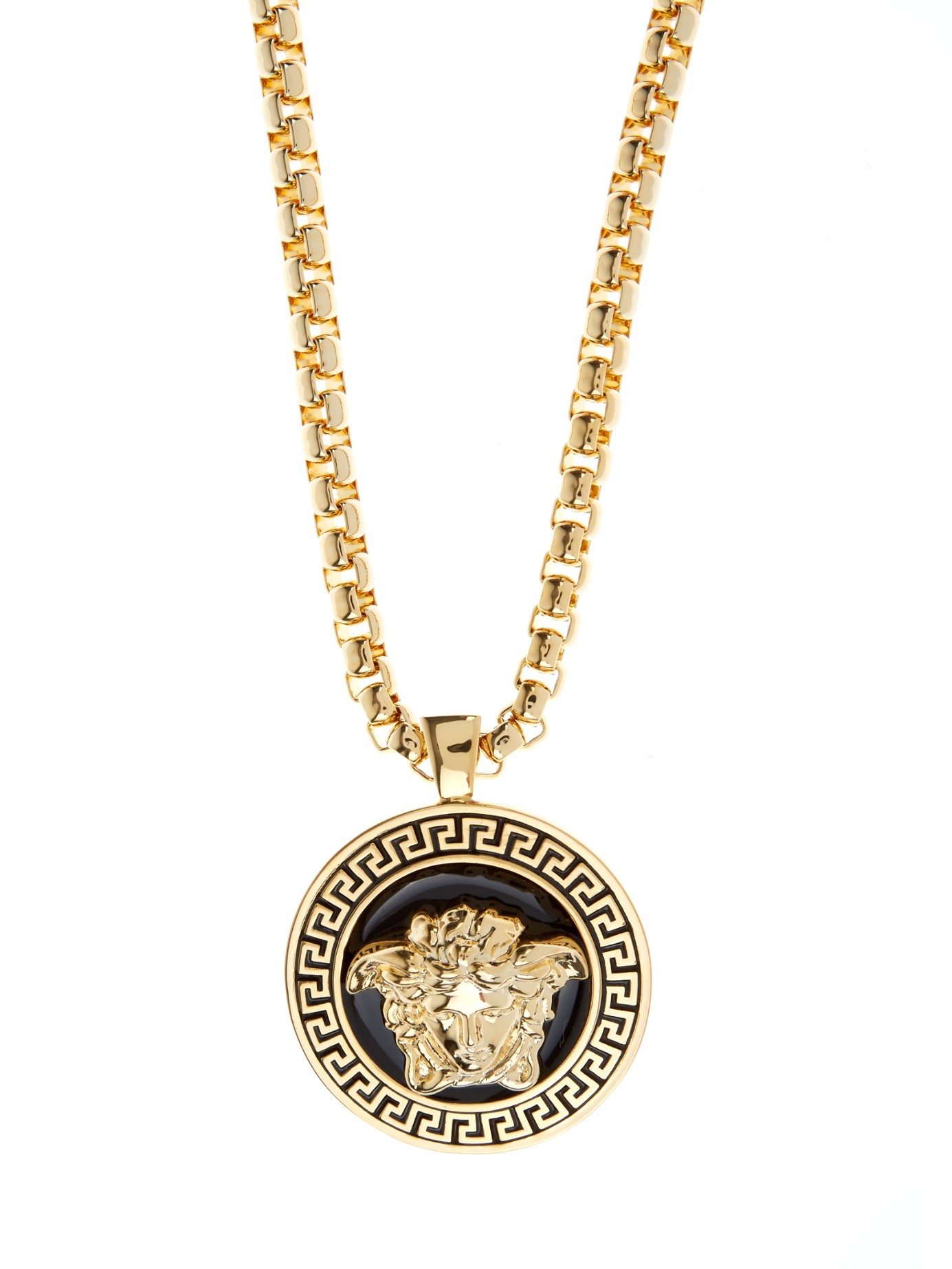 Versace black gold medusa medalion necklace in black for men lyst gallery mozeypictures Image collections