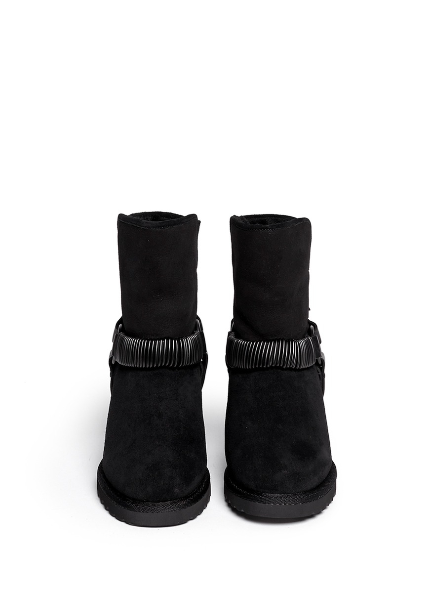 ash youri chain shearling wedge ankle boots in black lyst