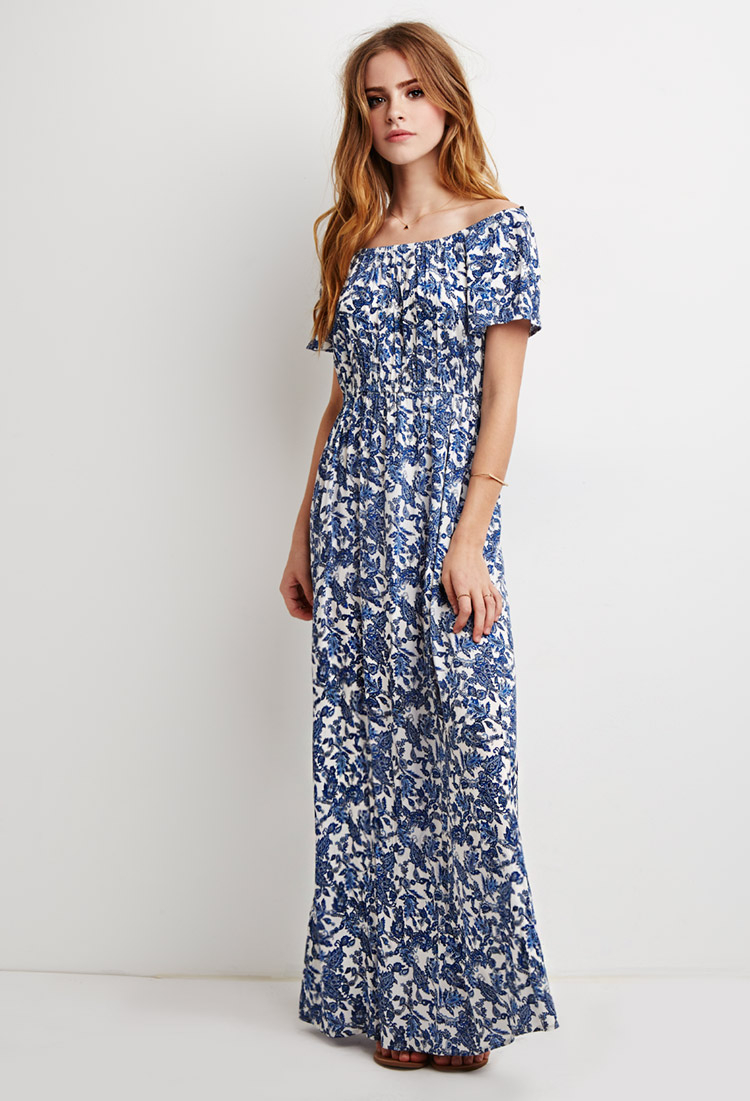 8f8c4ce1306f Lyst - Forever 21 Off-the-shoulder Paisley Maxi Dress in White