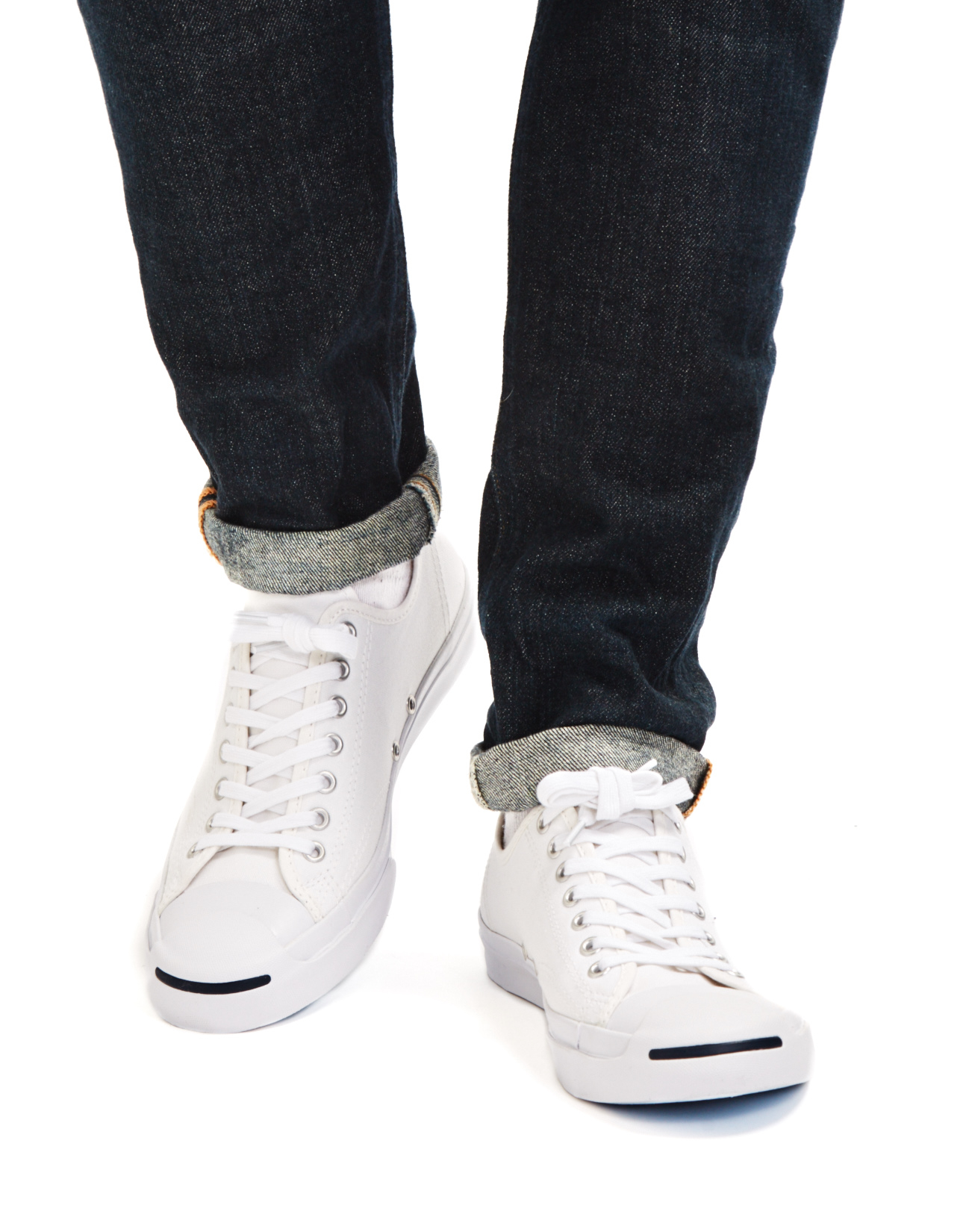 32285ae2c5fd99 Lyst - Converse Jack Purcell Jack Leather Trainer White navy in ...