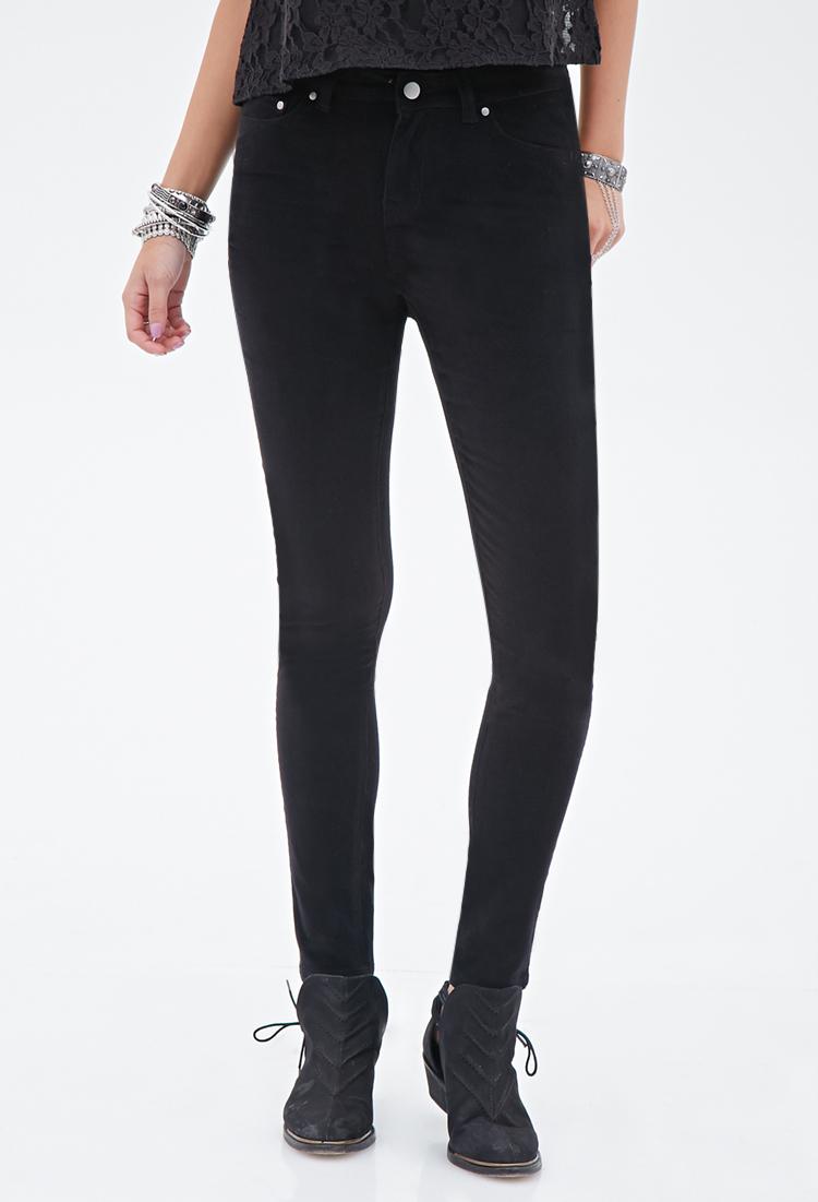 Lyst Forever 21 Skinny Corduroy Pants In Black