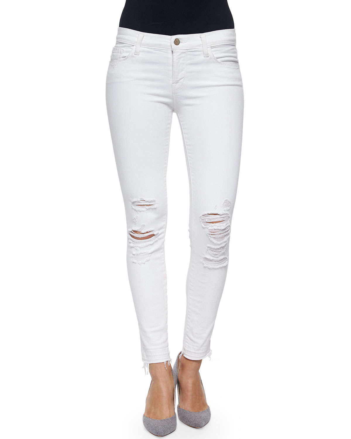 J brand Low-rise Skinny Crop Jeans in White - Save 66% | Lyst
