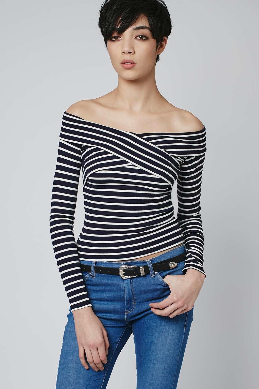 e03d678dcddcd Lyst - TOPSHOP Bardot Stripe Top in Blue