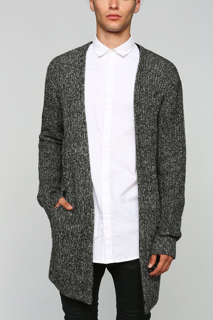 Your neighbors Long Open-front Cardigan in Black for Men | Lyst
