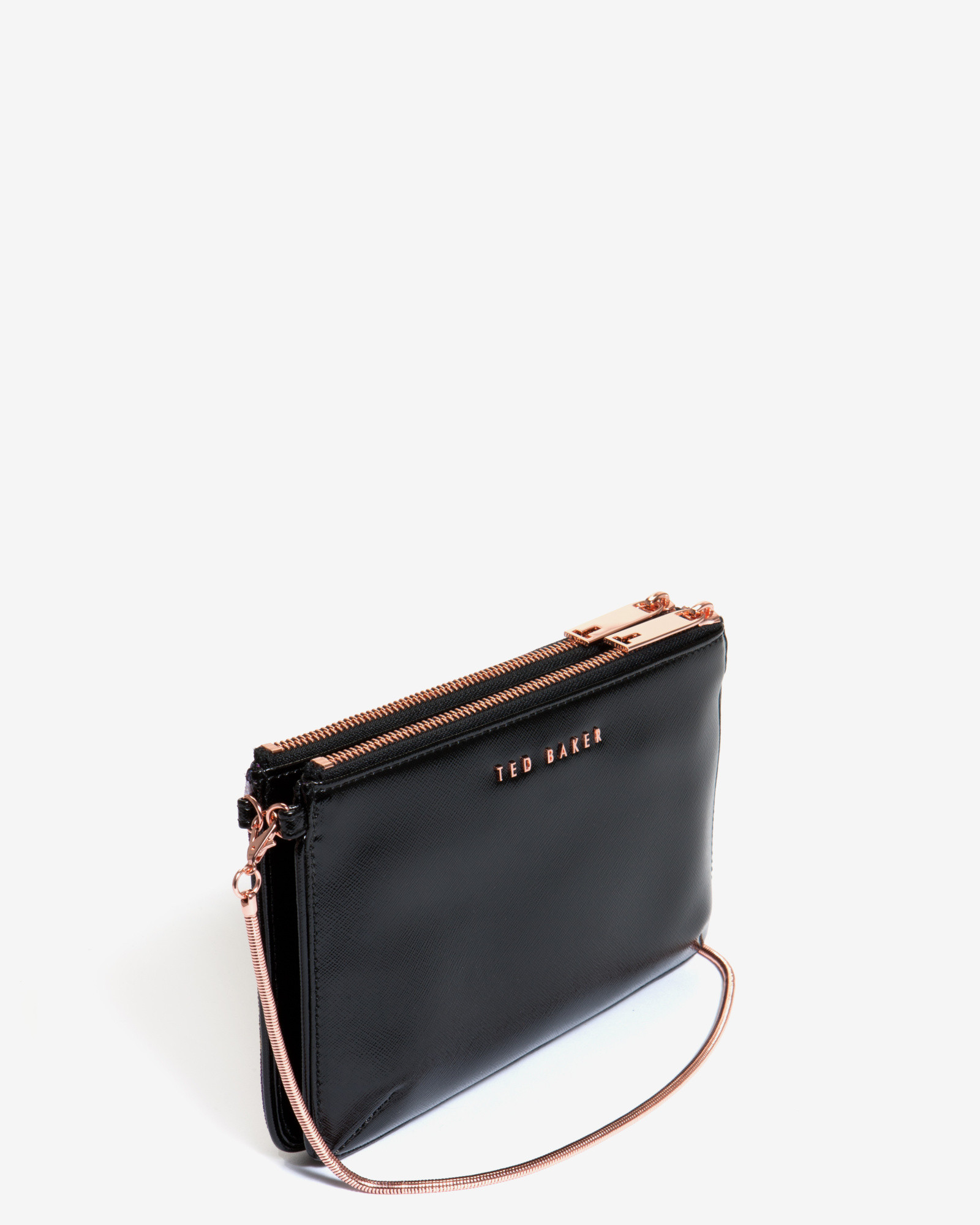 2fb2d56b87d Ted Baker Shadow Floral Canvas Clutch Bag in Black - Lyst