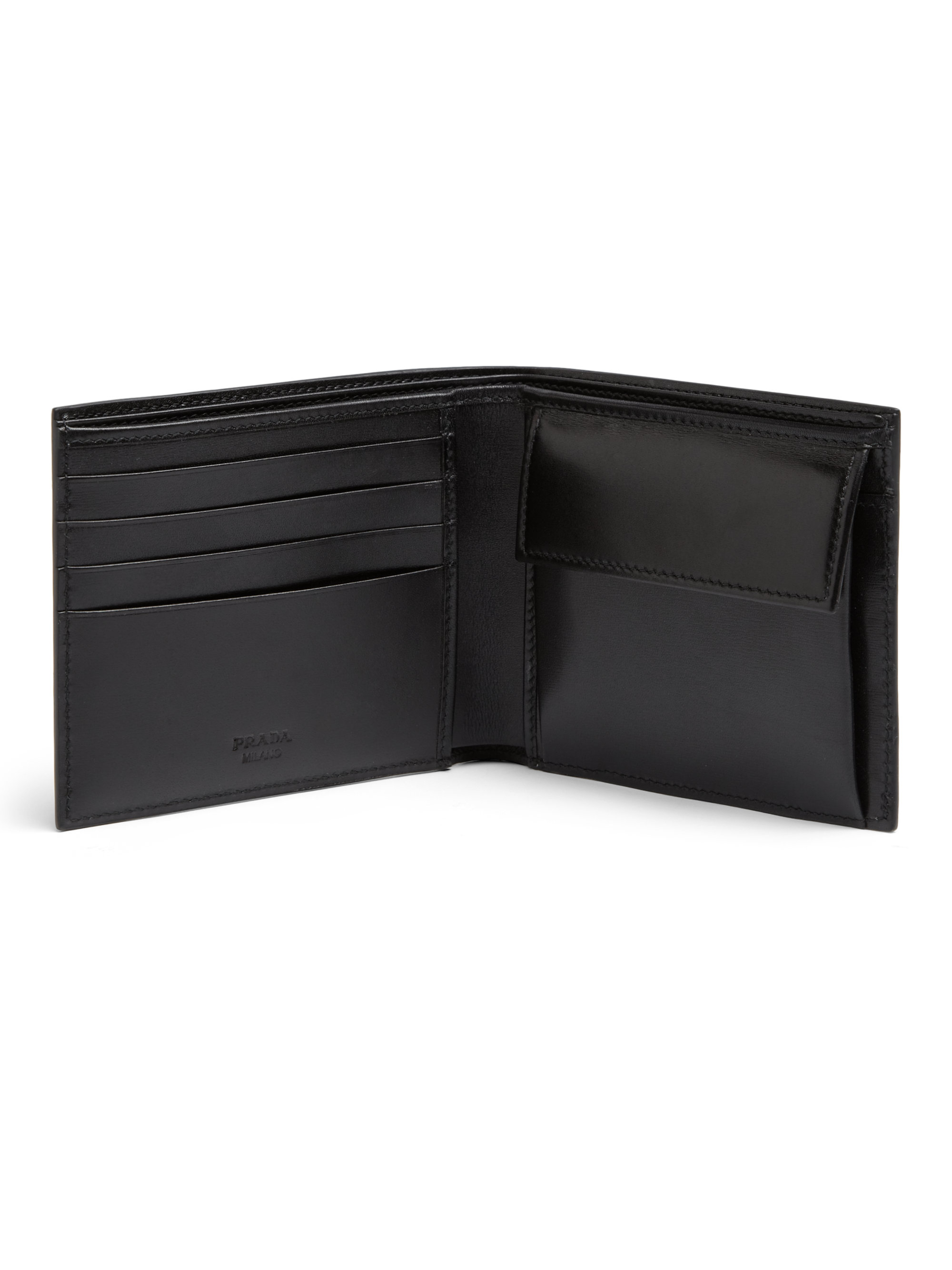 075cc9ea494f Prada Calf Leather Billfold Wallet With Coin Pouch in Black for Men ...