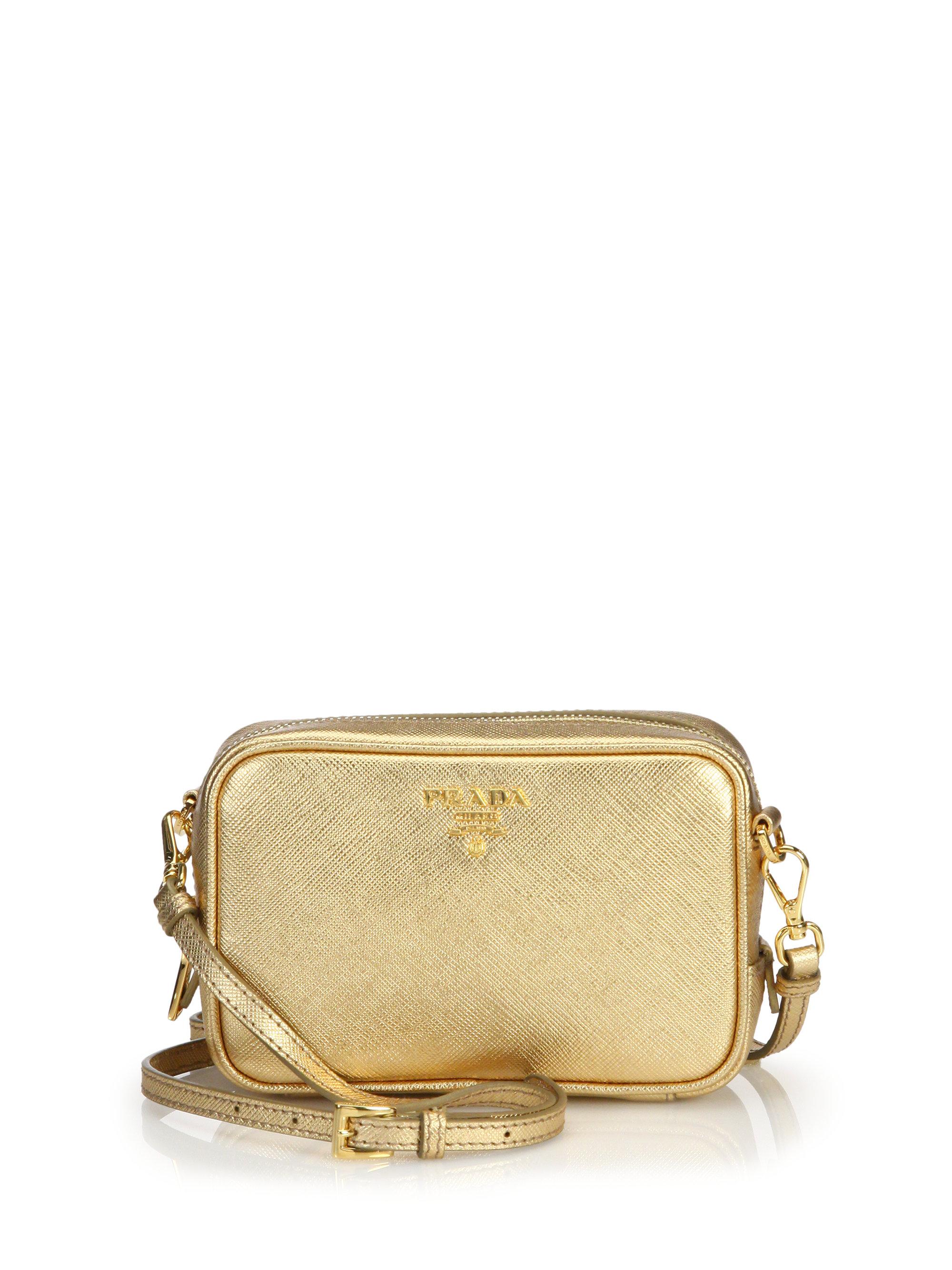 Prada Metallic Saffiano Leather Camera Bag in Gold   Lyst
