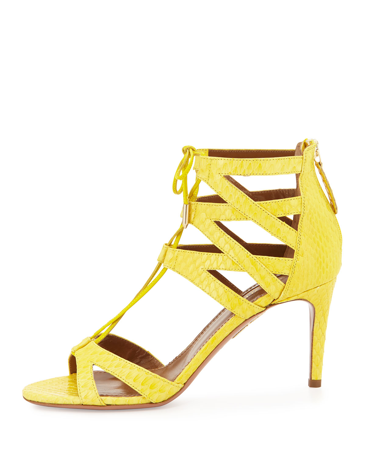 Lyst - Aquazzura Beverly Hills Snakeskin Sandals in Yellow