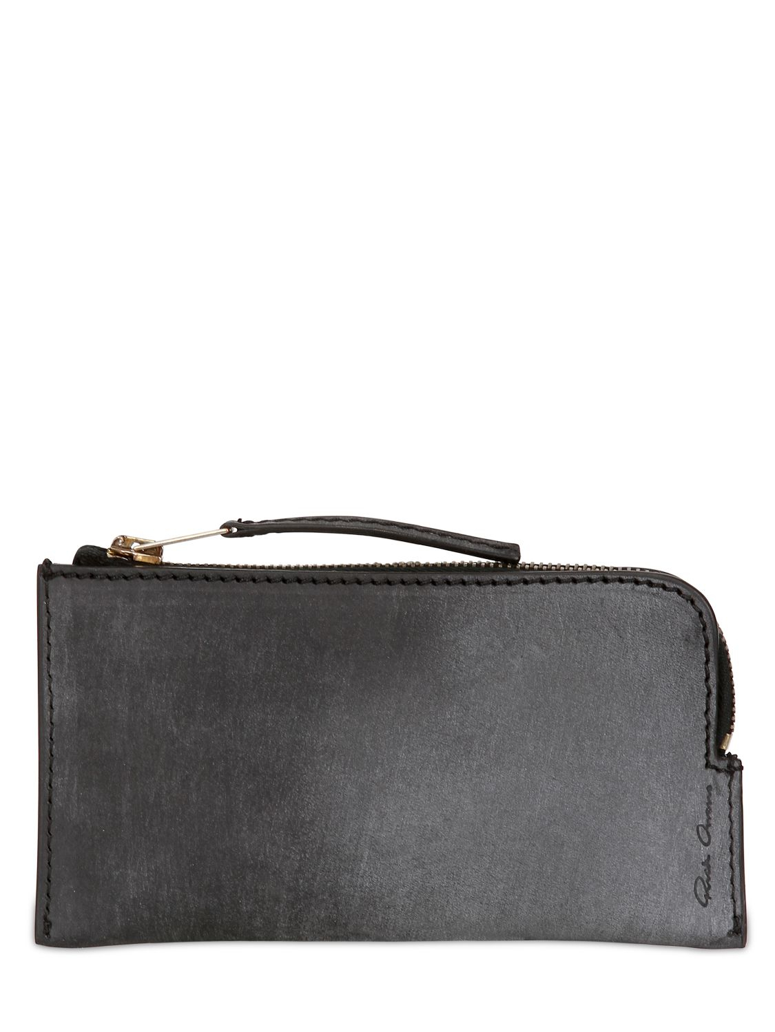 Lyst Rick Owens Zipped Leather Wallet In Black For Men