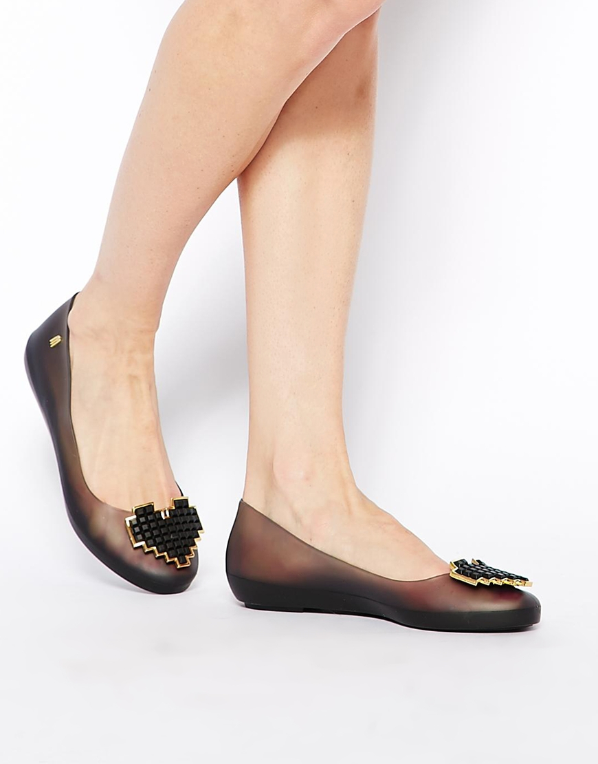 Lyst Melissa Color Feeling Heart Black Flat Shoes In Black