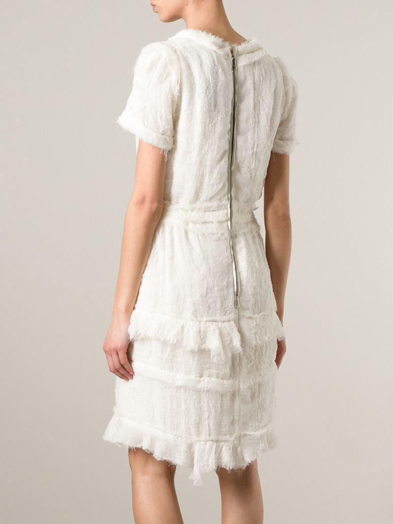 90d87709ed Lanvin Frayed Chiffon Dress in White - Lyst