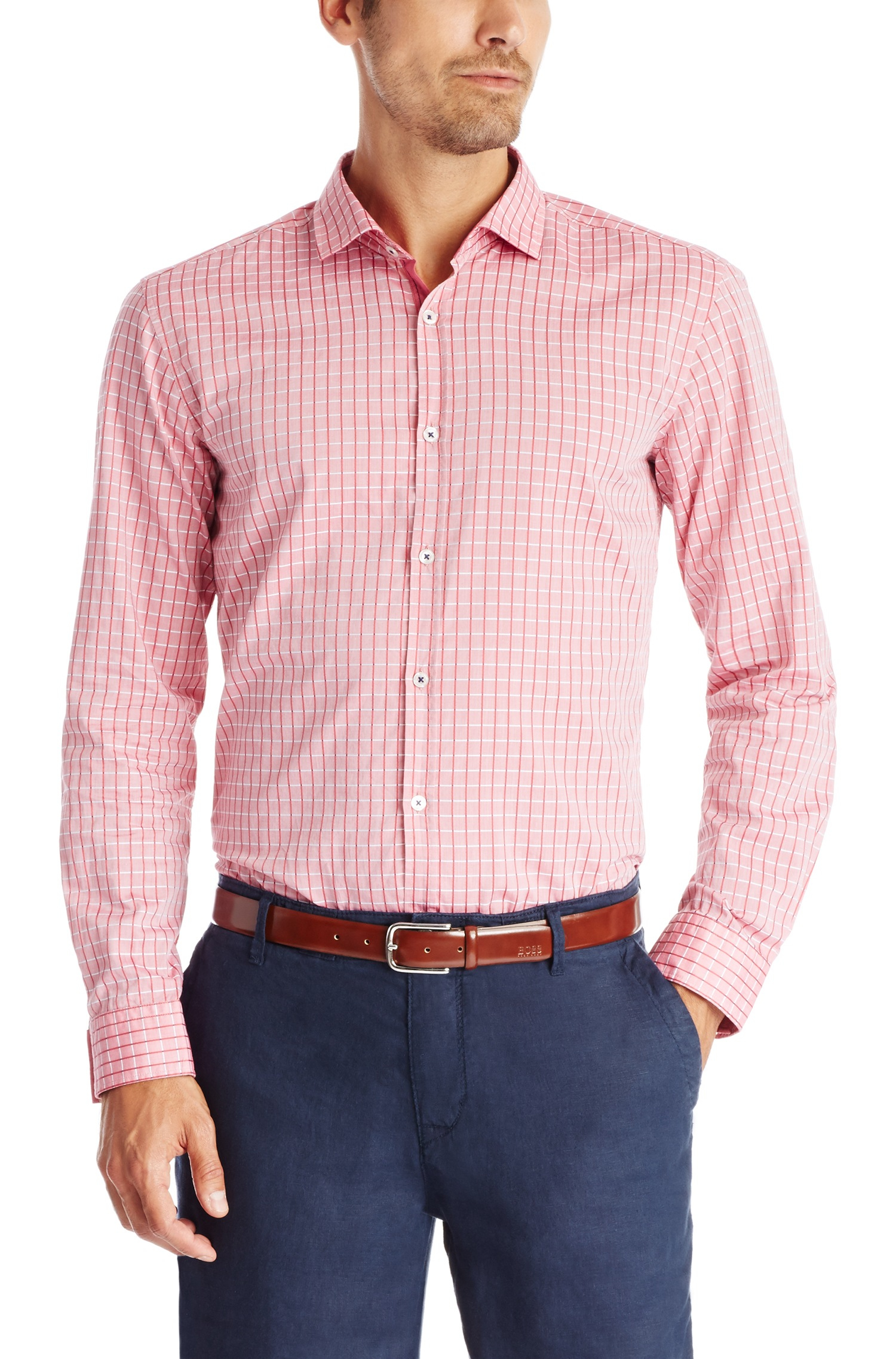Lyst boss 39 melvin 39 slim fit cotton button down shirt for Slim button down shirt