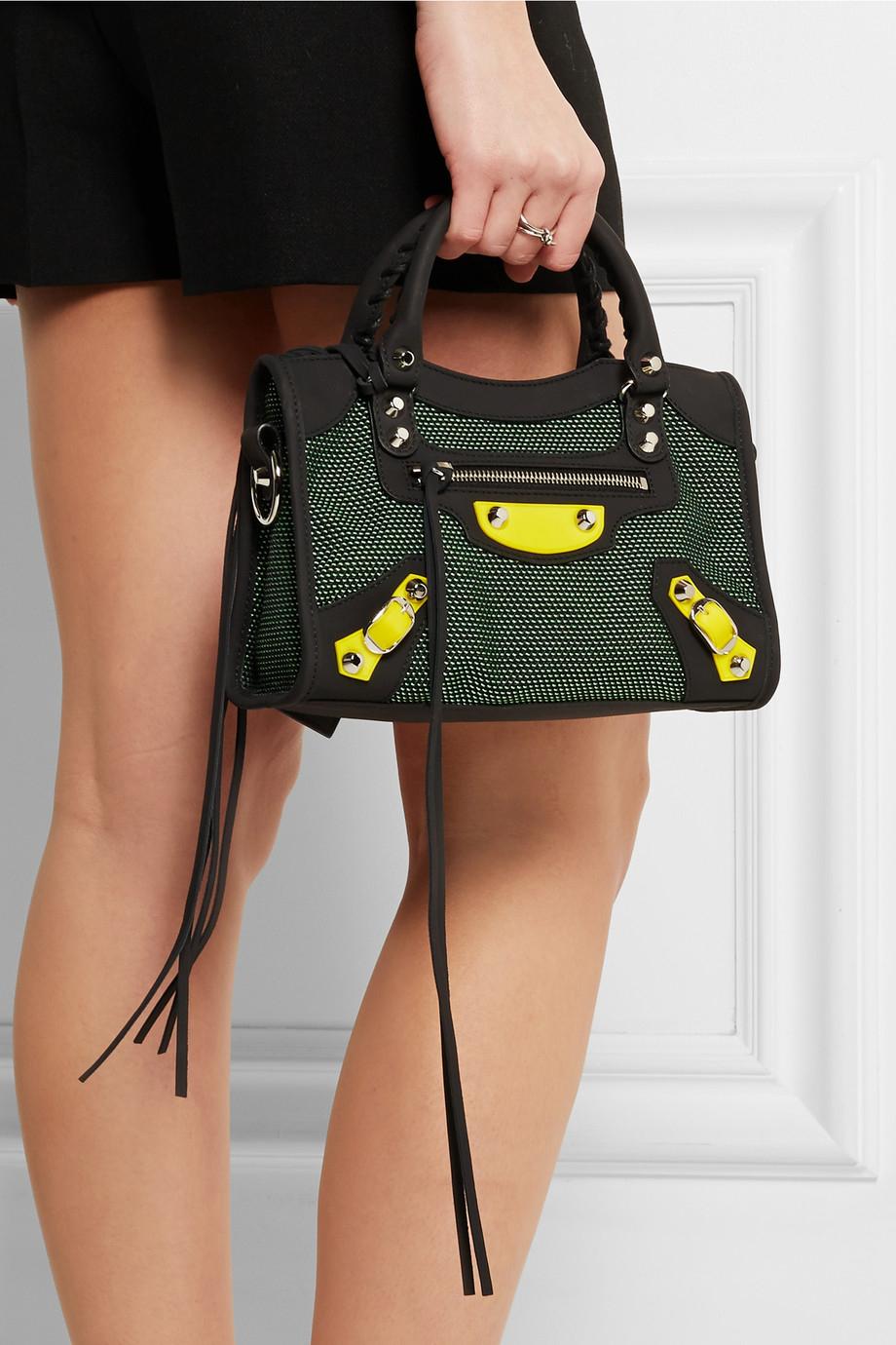e12e39a9e0 Balenciaga City Mini Canvas And Neoprene Shoulder Bag in Green - Lyst