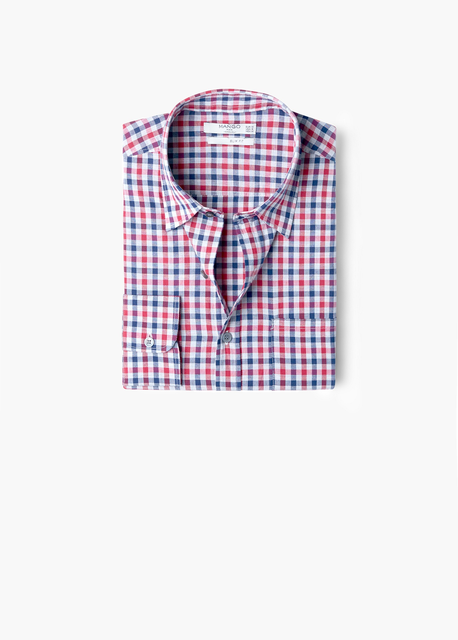 Mango Slim Fit Gingham Check Shirt In Red For Men Lyst