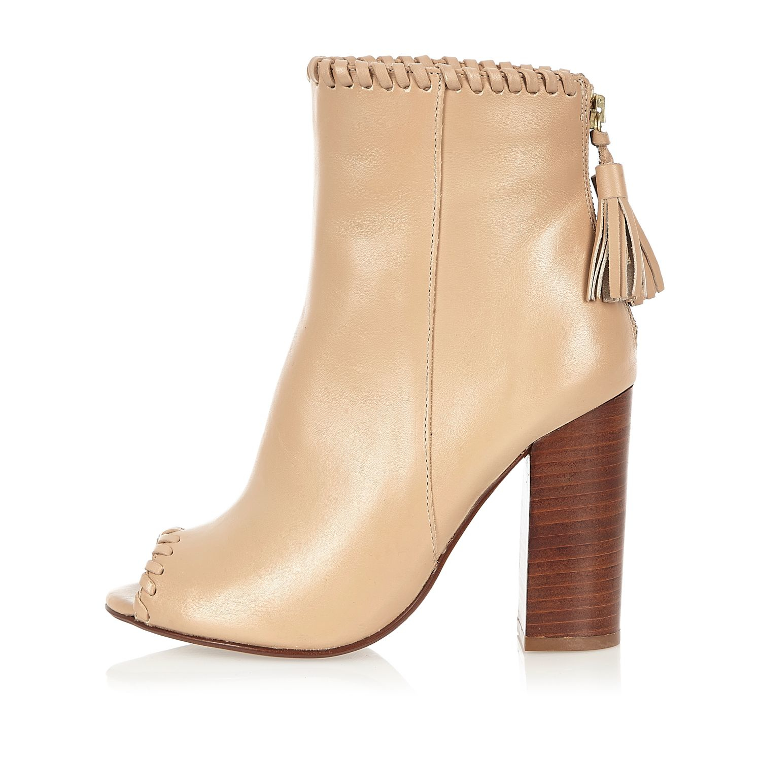 river island leather whipstitch heeled shoe boots lyst
