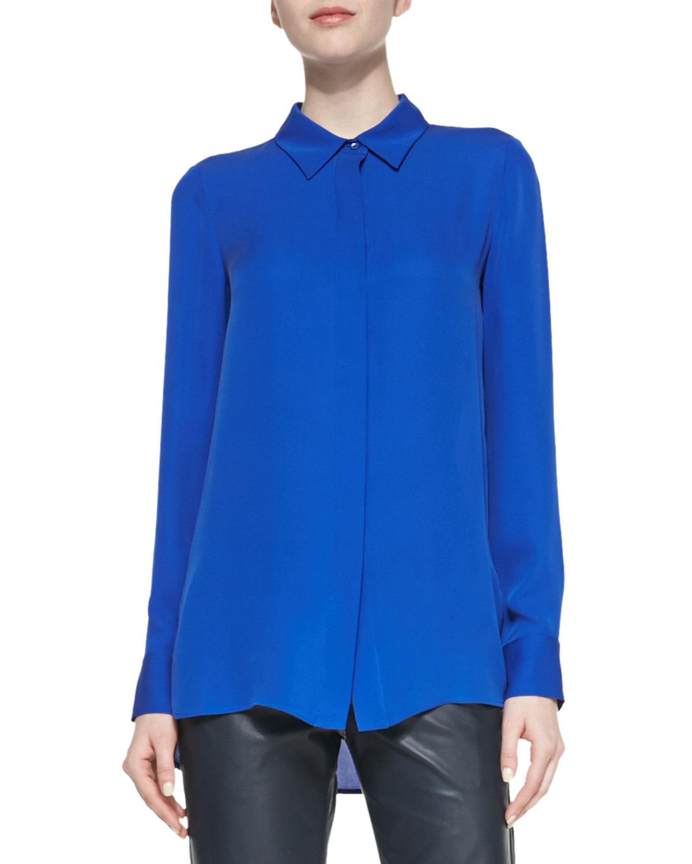 22bb1f00dada63 Lyst - Vince Classic Long-Sleeve Silk Blouse in Blue