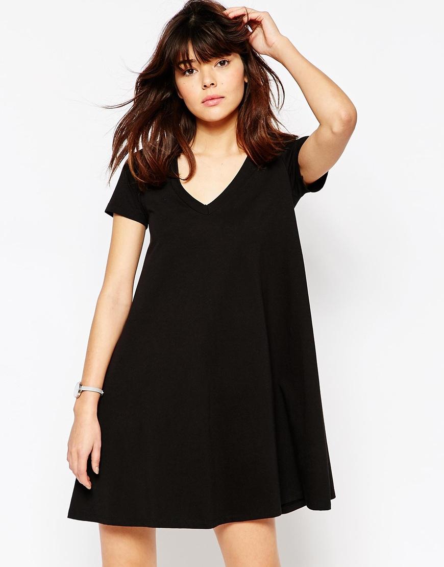 Lyst Asos V Neck Swing T Shirt Dress Black In Black