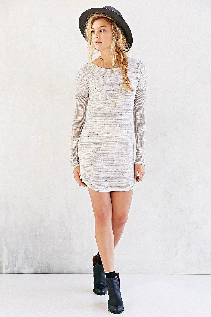 Lyst Bdg Rib Sleeve Knit T Shirt Dress In Gray
