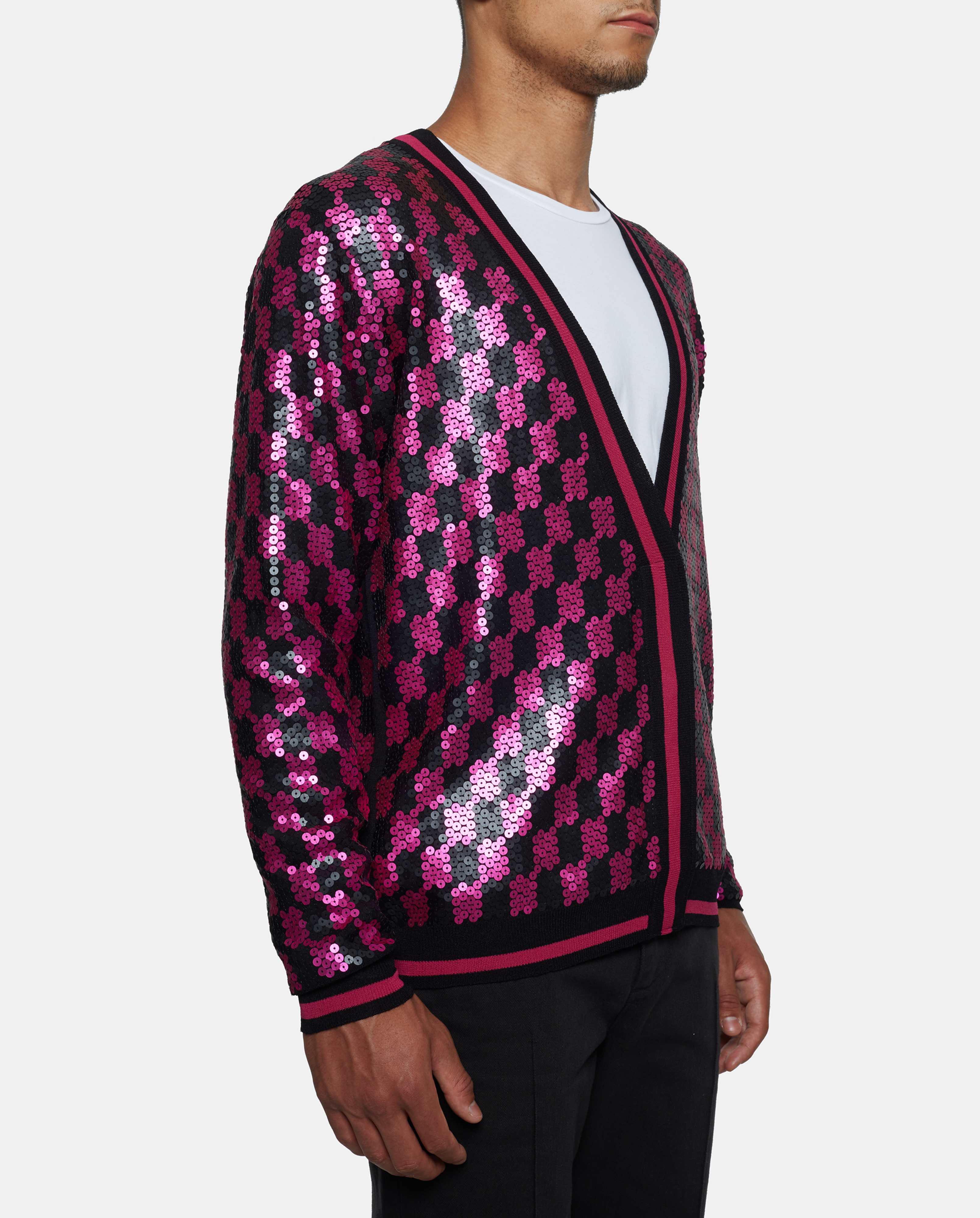 Sibling Sequin Check Cardigan in Purple for Men | Lyst