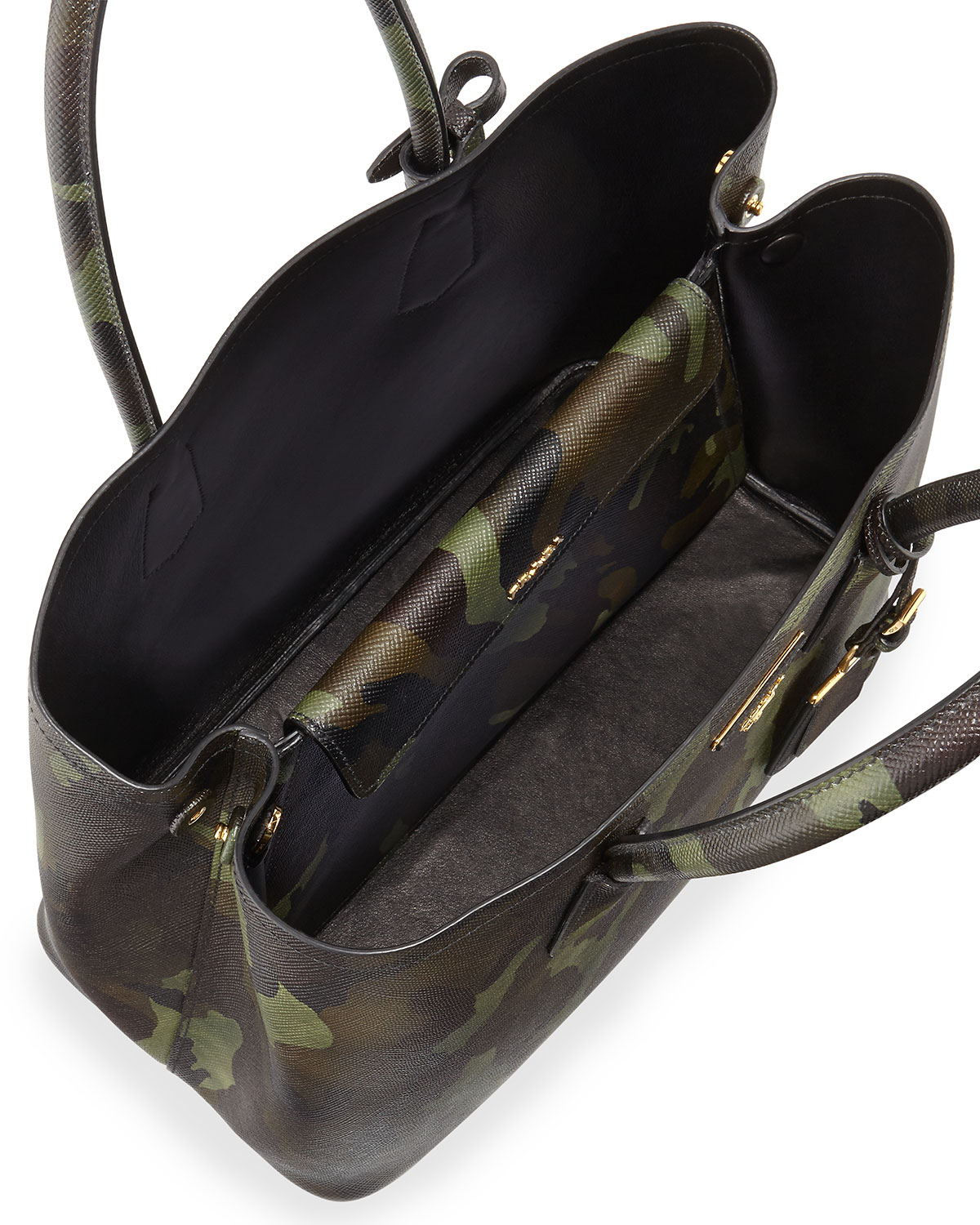 Prada Saffiano Cuir Camouflage Double Bag in Green (Brown Camo ...