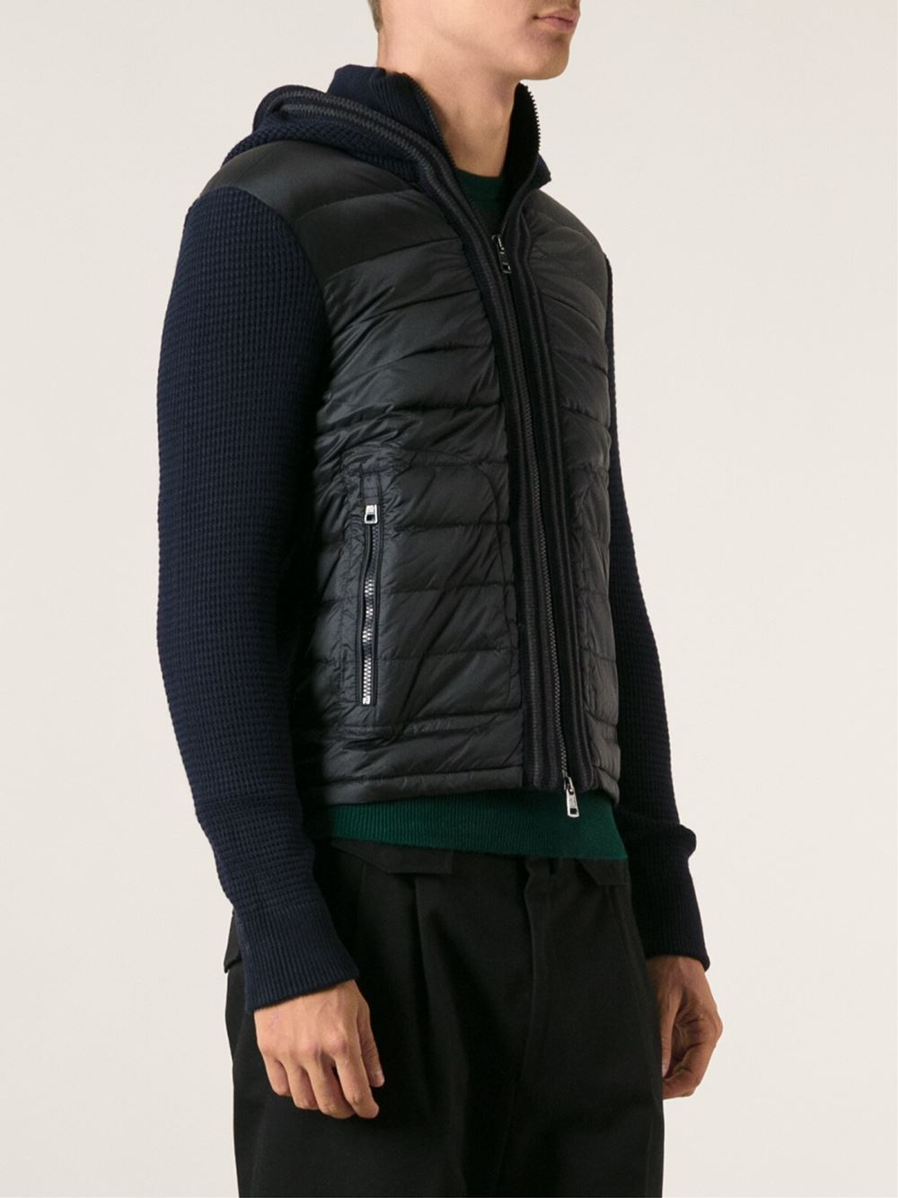 Lyst Moncler Canut Knitted Jacket In Blue For Men
