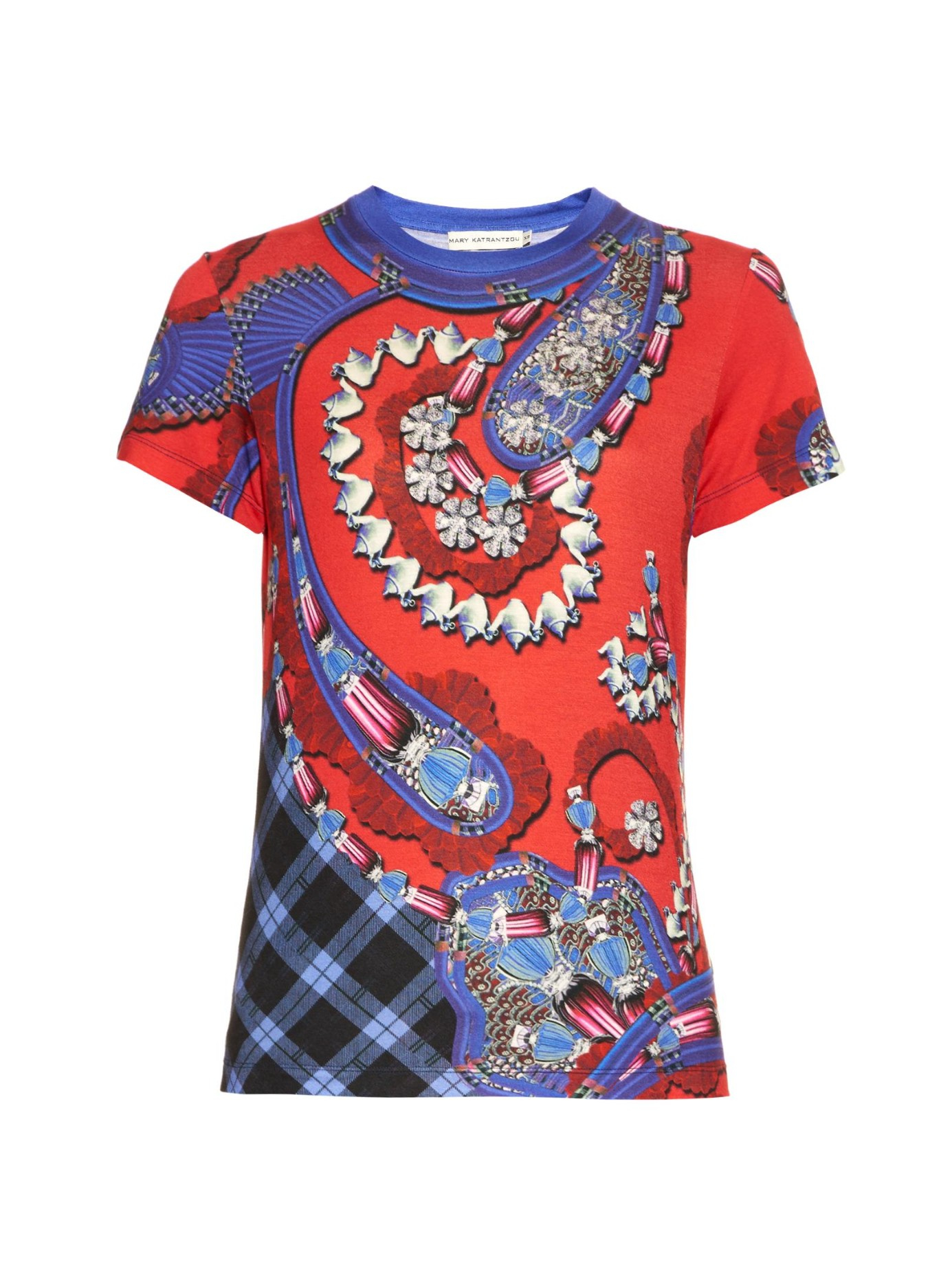 Lyst mary katrantzou mixed print t shirt in red for T shirt printing stonecrest mall