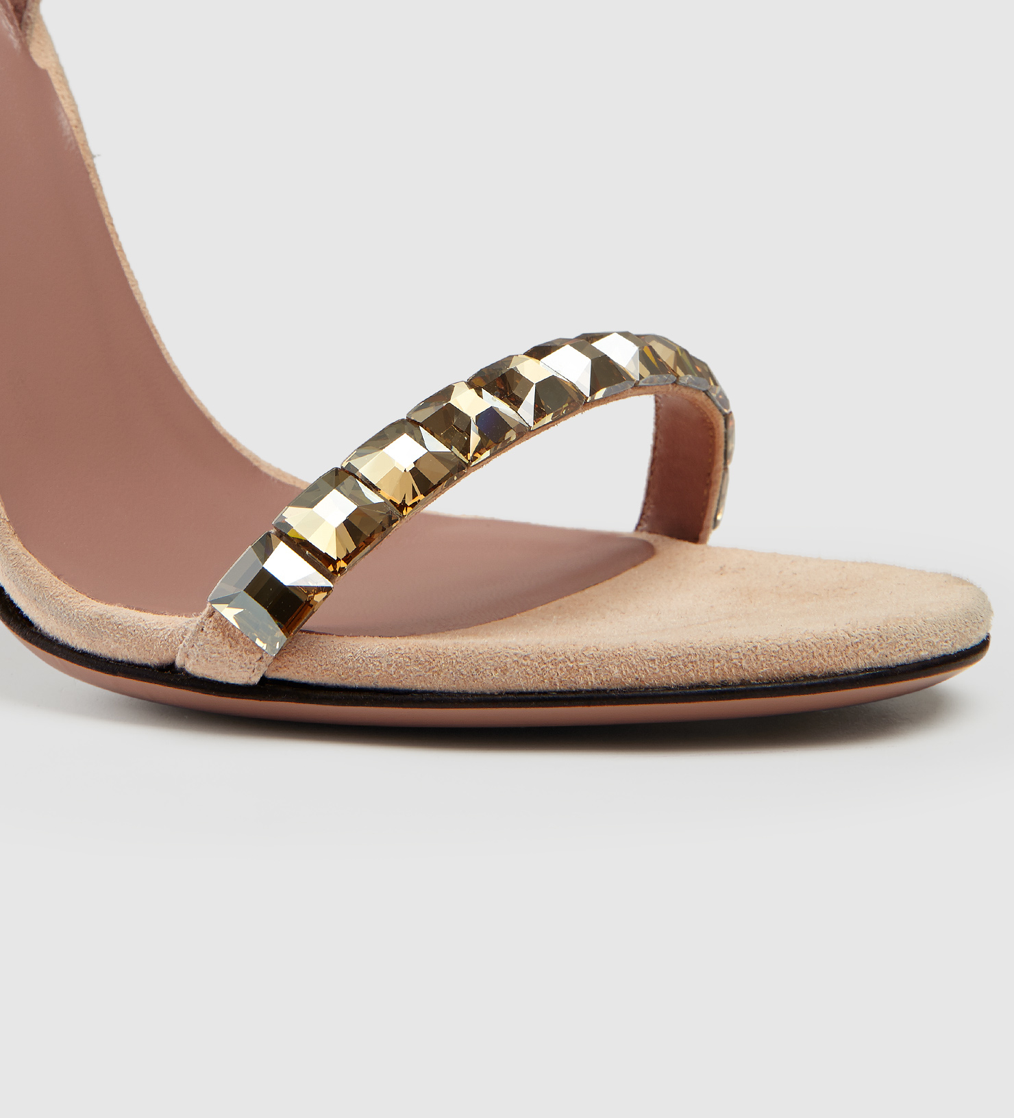 cb1925f9304 Lyst - Gucci Mallory Crystal Embellished Suede Sandals in Brown