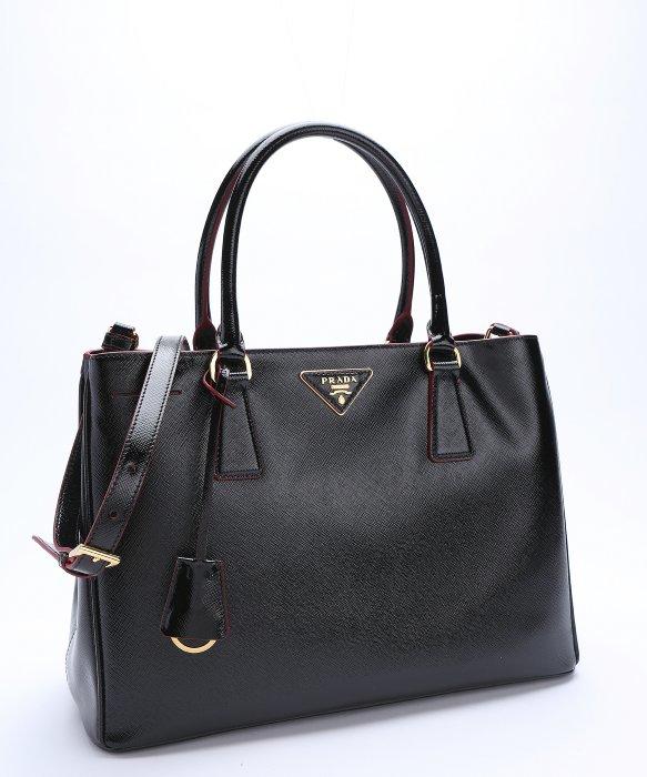 prada tan leather handbag - Prada Black And Red Patent Saffiano Leather Convertible Tote in ...