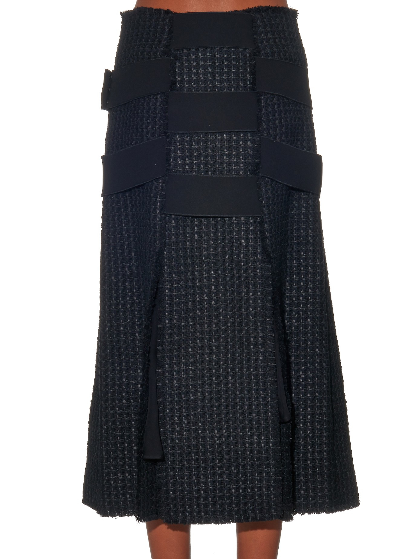 proenza schouler woven tweed midi skirt in black lyst