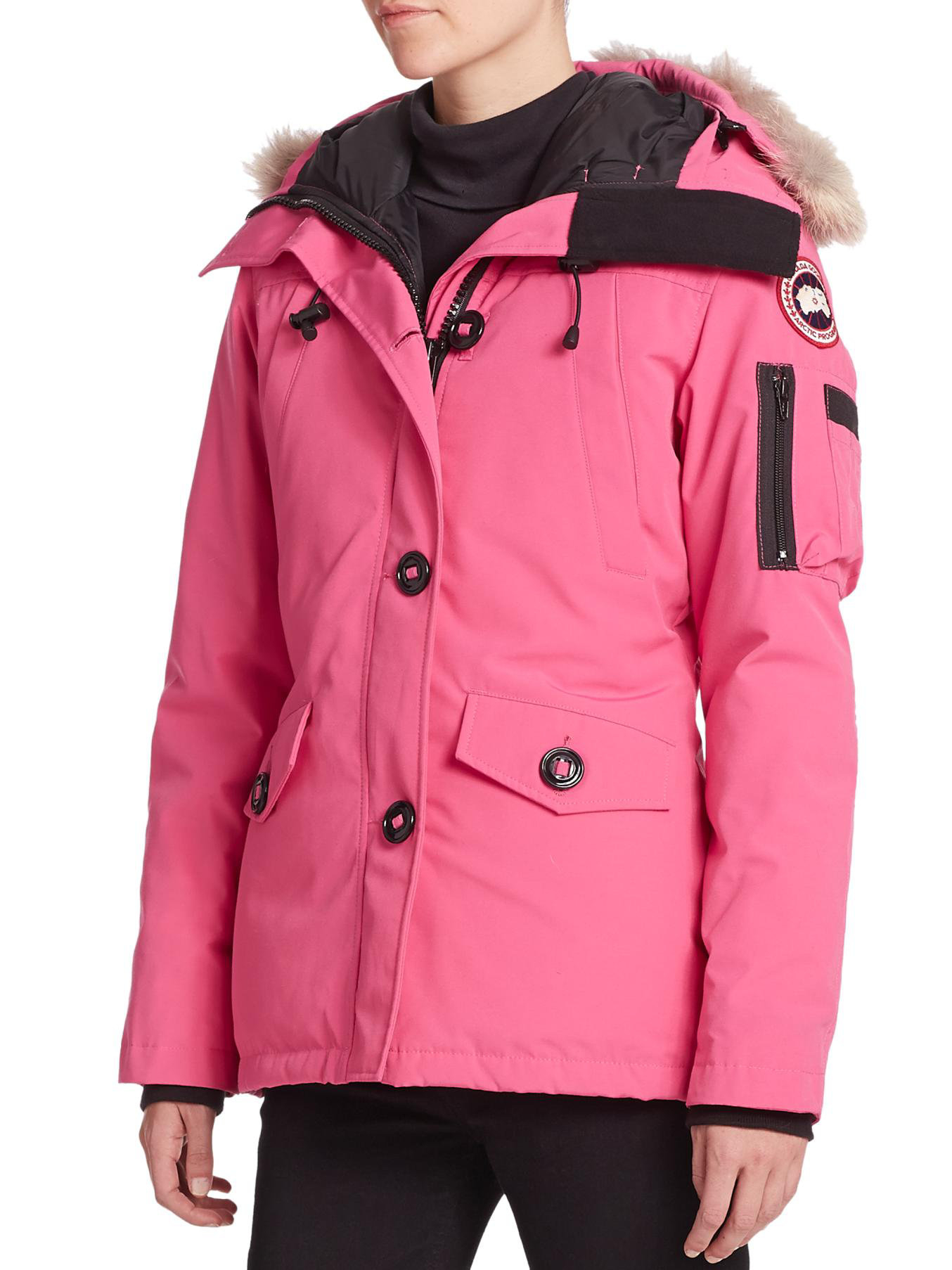 Canada Goose store - Canada goose Fur-trimmed Montebello Parka in Pink | Lyst