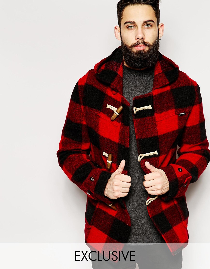 Gloverall Cropped Duffle Coat In Buffalo Plaid - Exclusive in Red ...