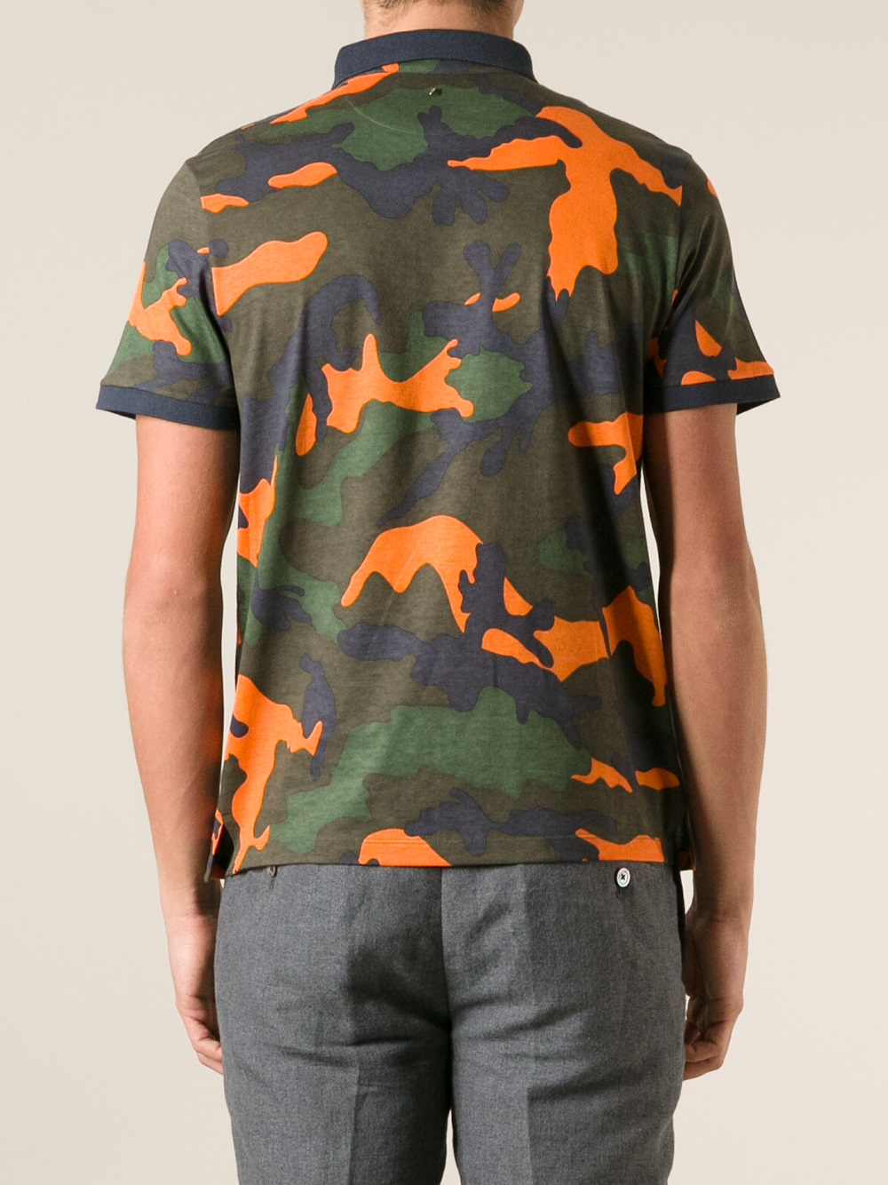 Lyst valentino camouflage polo shirt in green for men for Camo polo shirts for men
