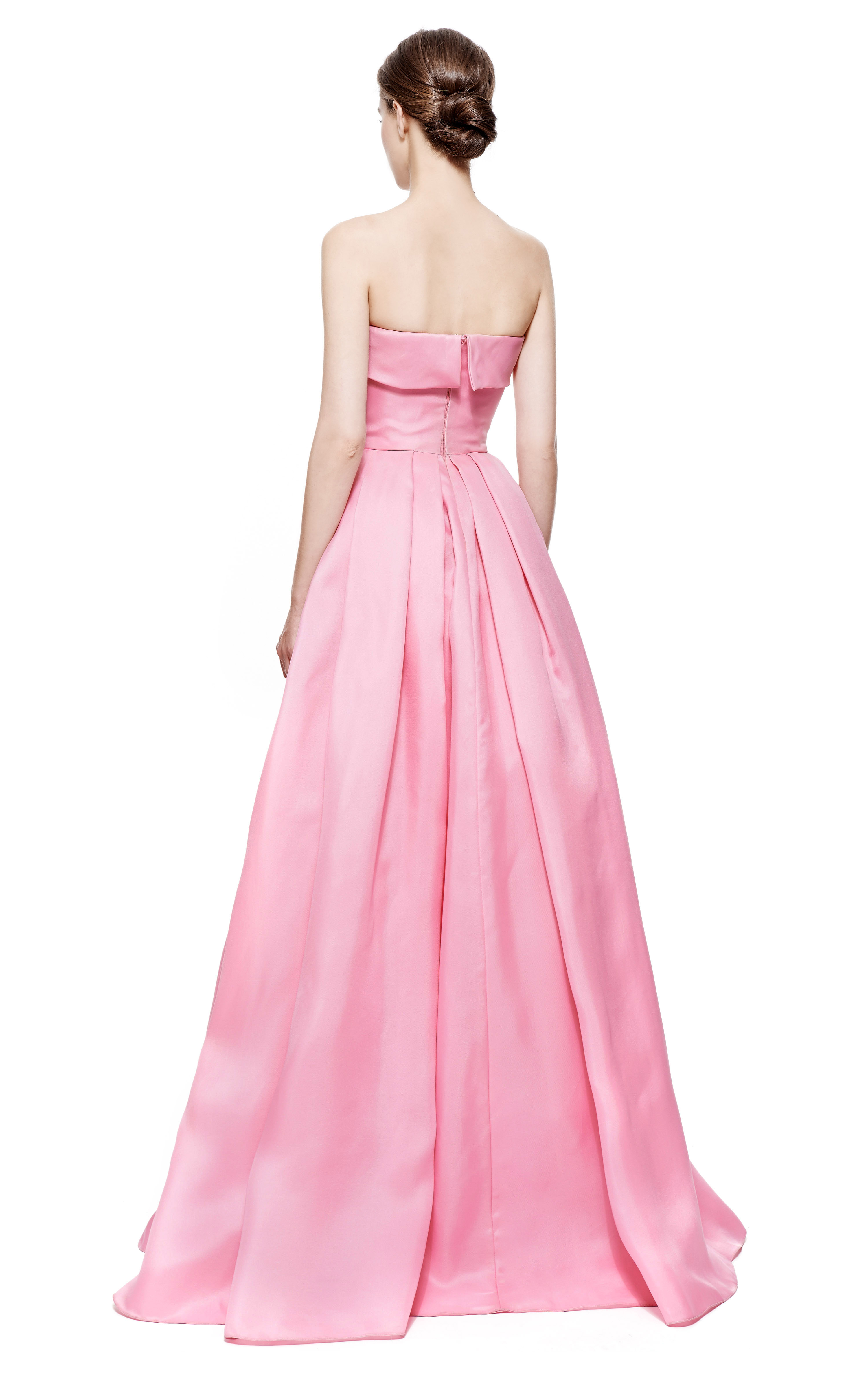 Lyst - Reem Acra Strapless Silk Gazar Pleated Ball Gown in Pink