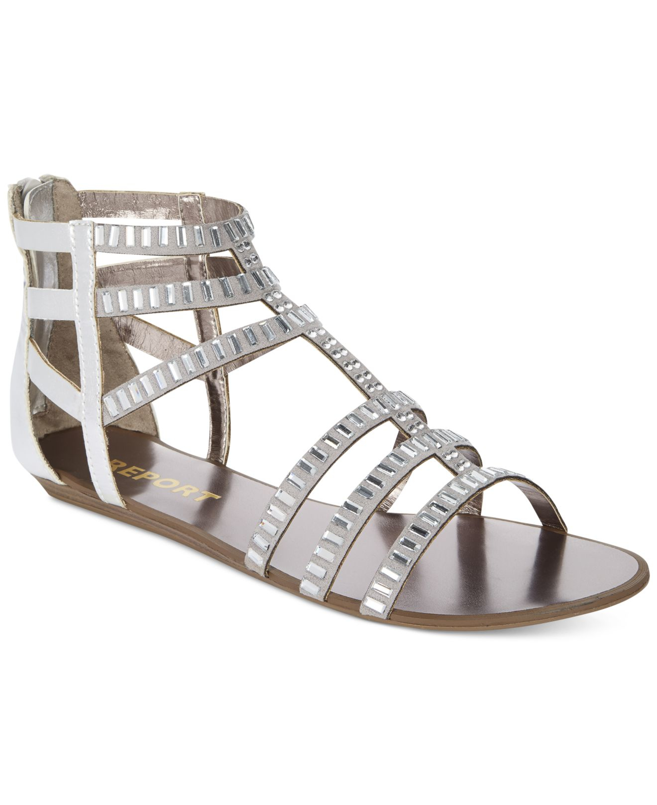 Report Layshia Rhinestone Gladiator Sandals In Metallic Lyst