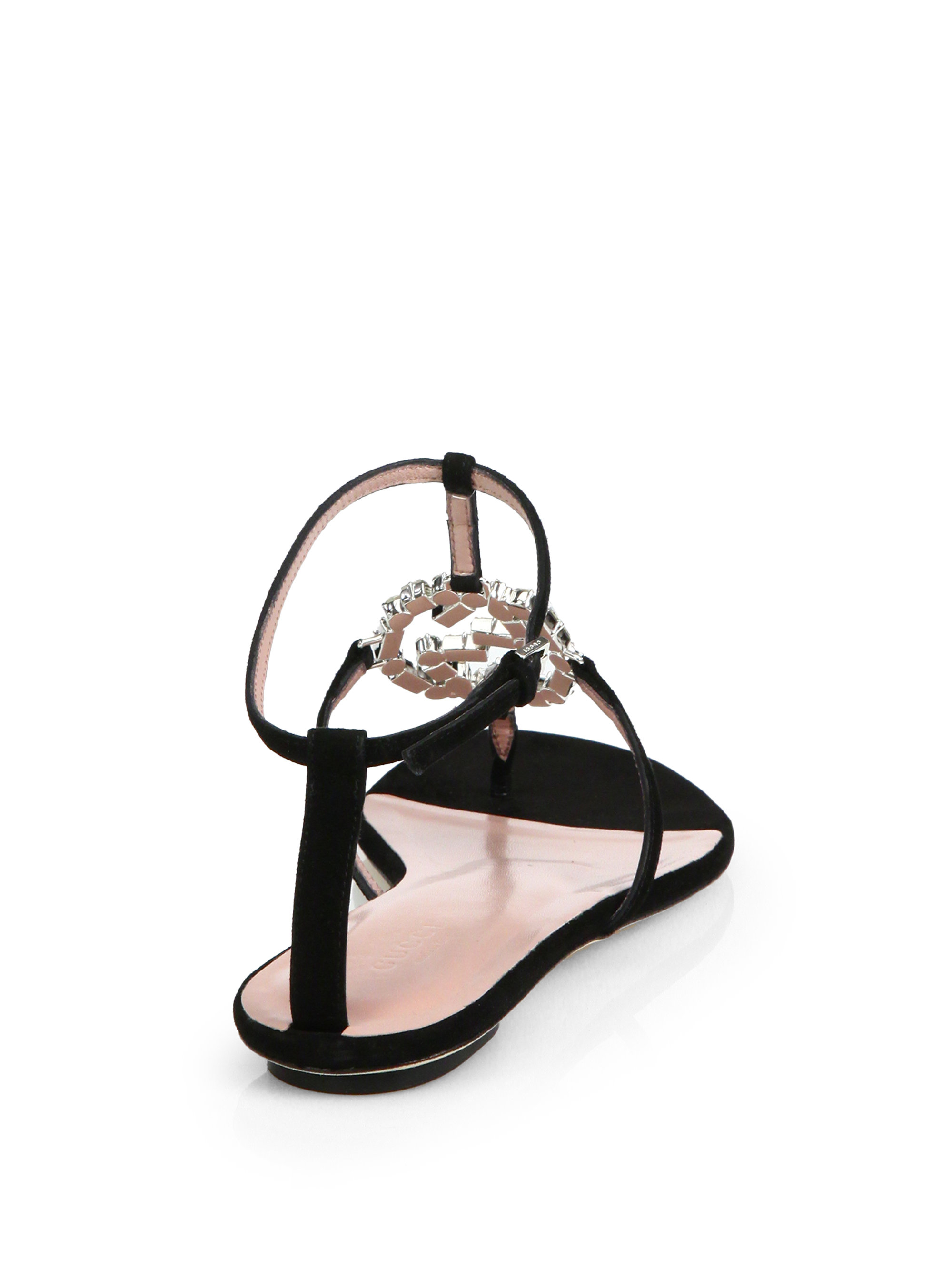 16158dacec1a Lyst - Gucci GG Crystal Leather and Suede Sandals in Black