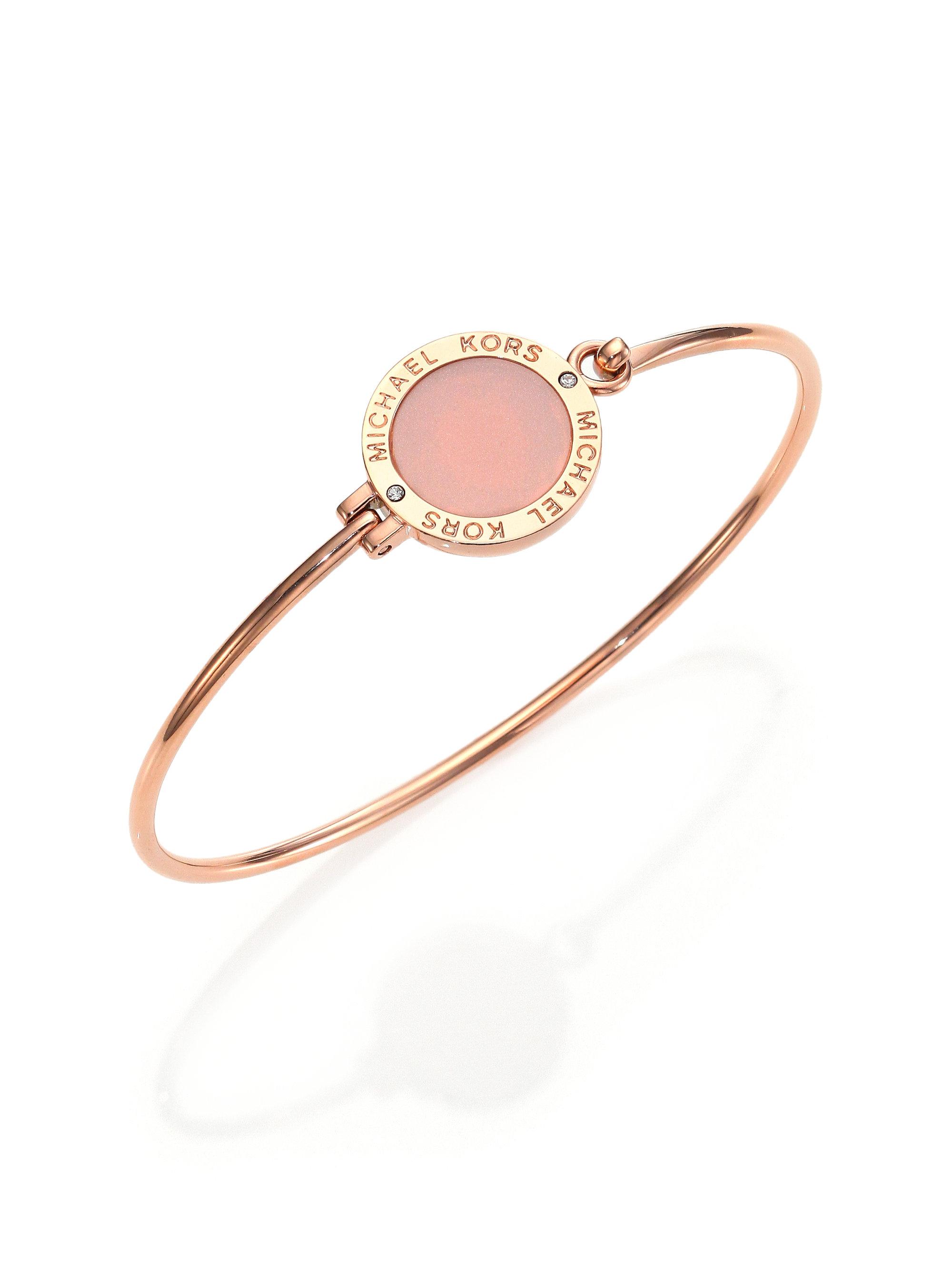 michael kors rose blush logo disc bangle bracelet in. Black Bedroom Furniture Sets. Home Design Ideas