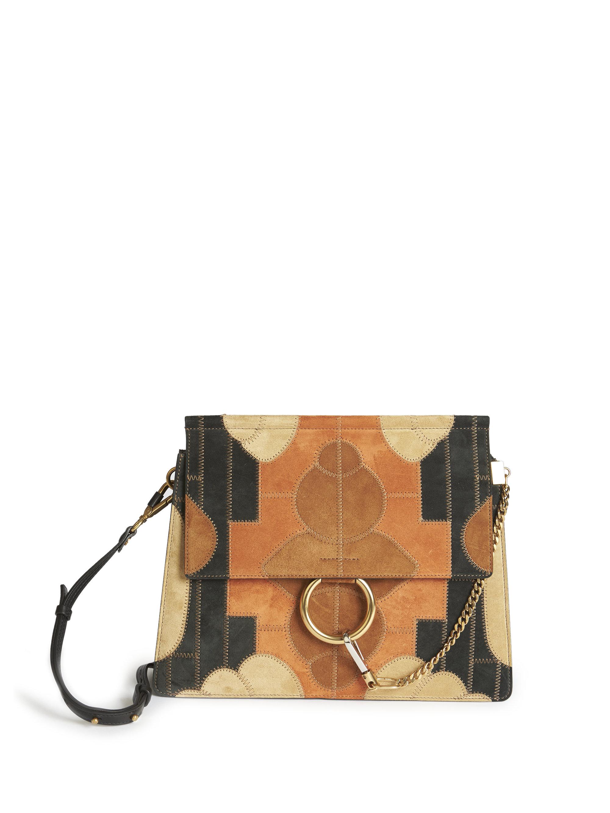 chloe faye patchwork leather shoulder bag