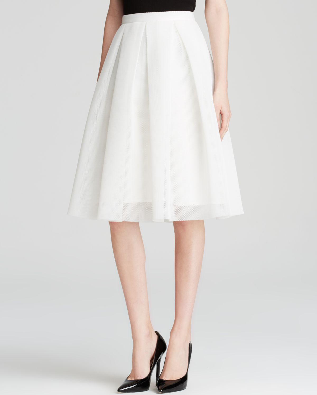 aqua skirt mesh neoprene midi in white lyst